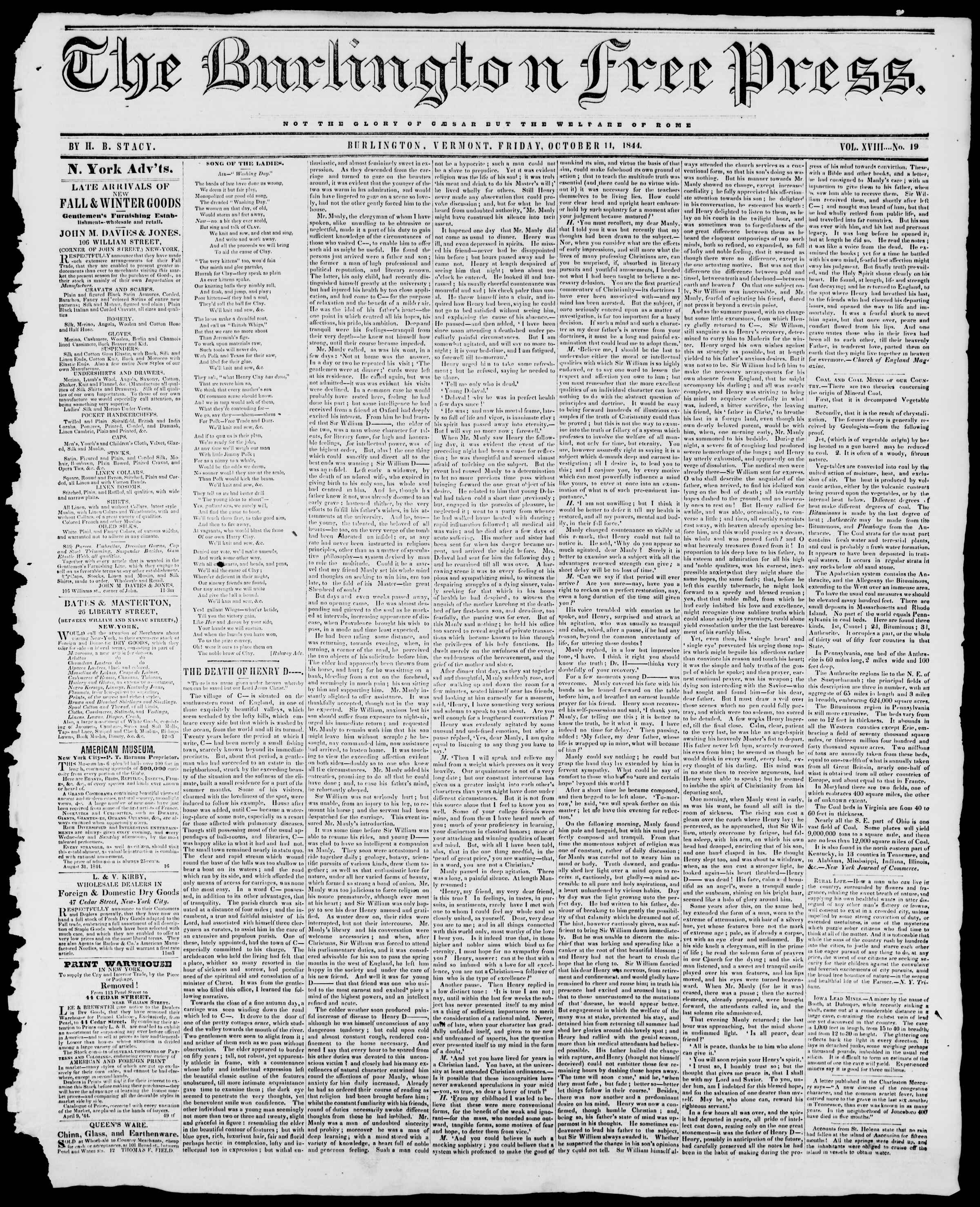 Newspaper of Burlington Free Press dated October 11, 1844 Page 1