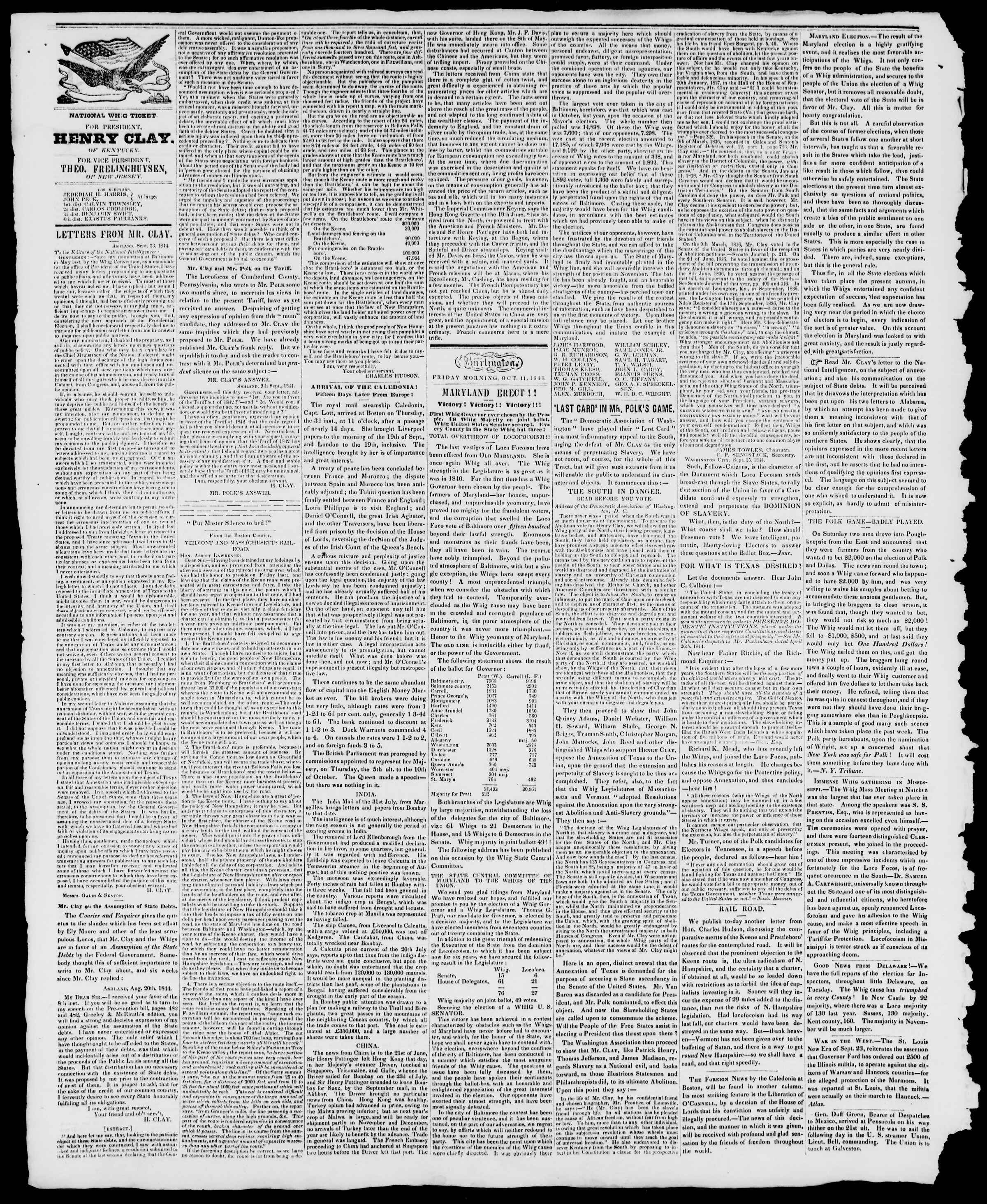 Newspaper of Burlington Free Press dated October 11, 1844 Page 2