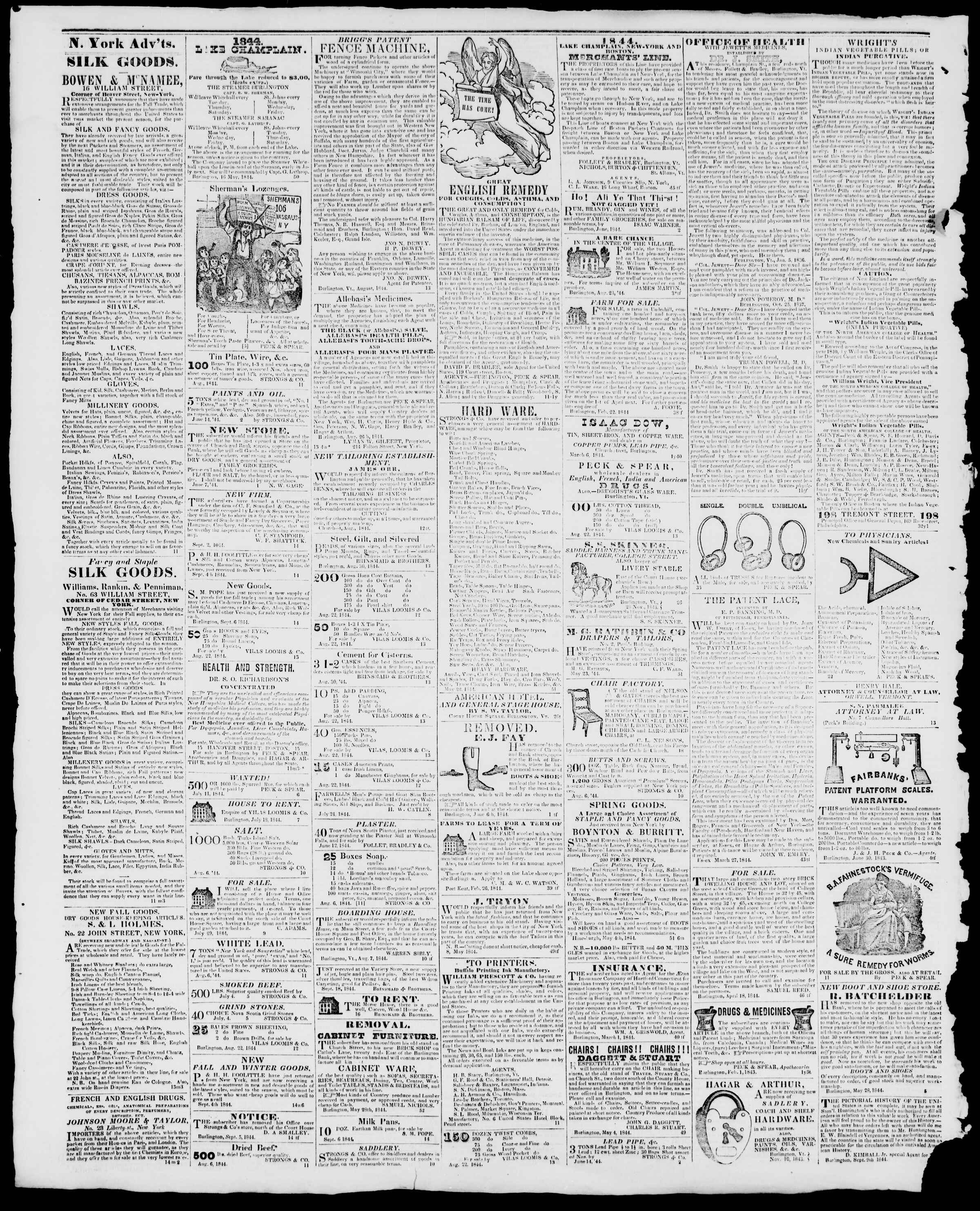 Newspaper of Burlington Free Press dated October 11, 1844 Page 4