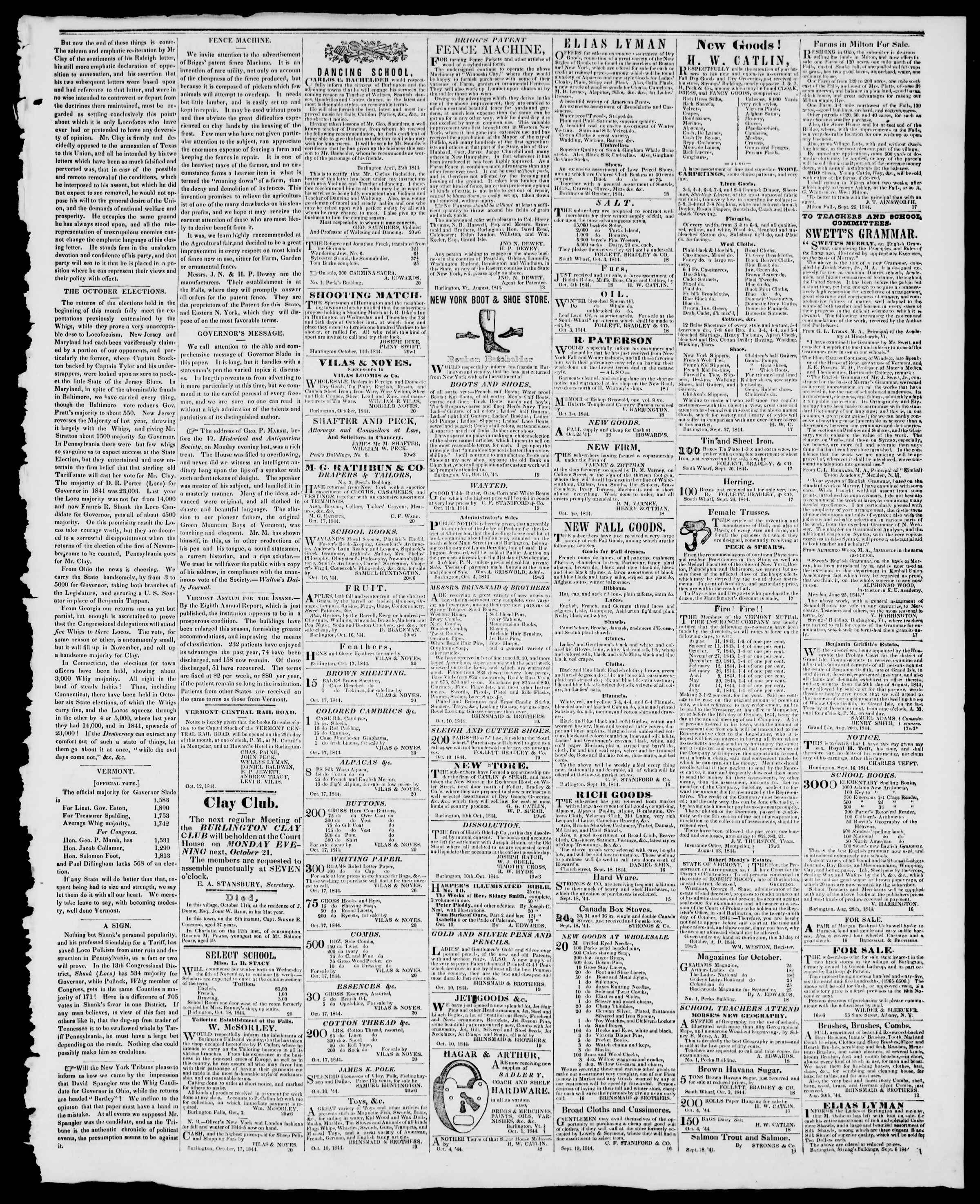 Newspaper of Burlington Free Press dated October 18, 1844 Page 3