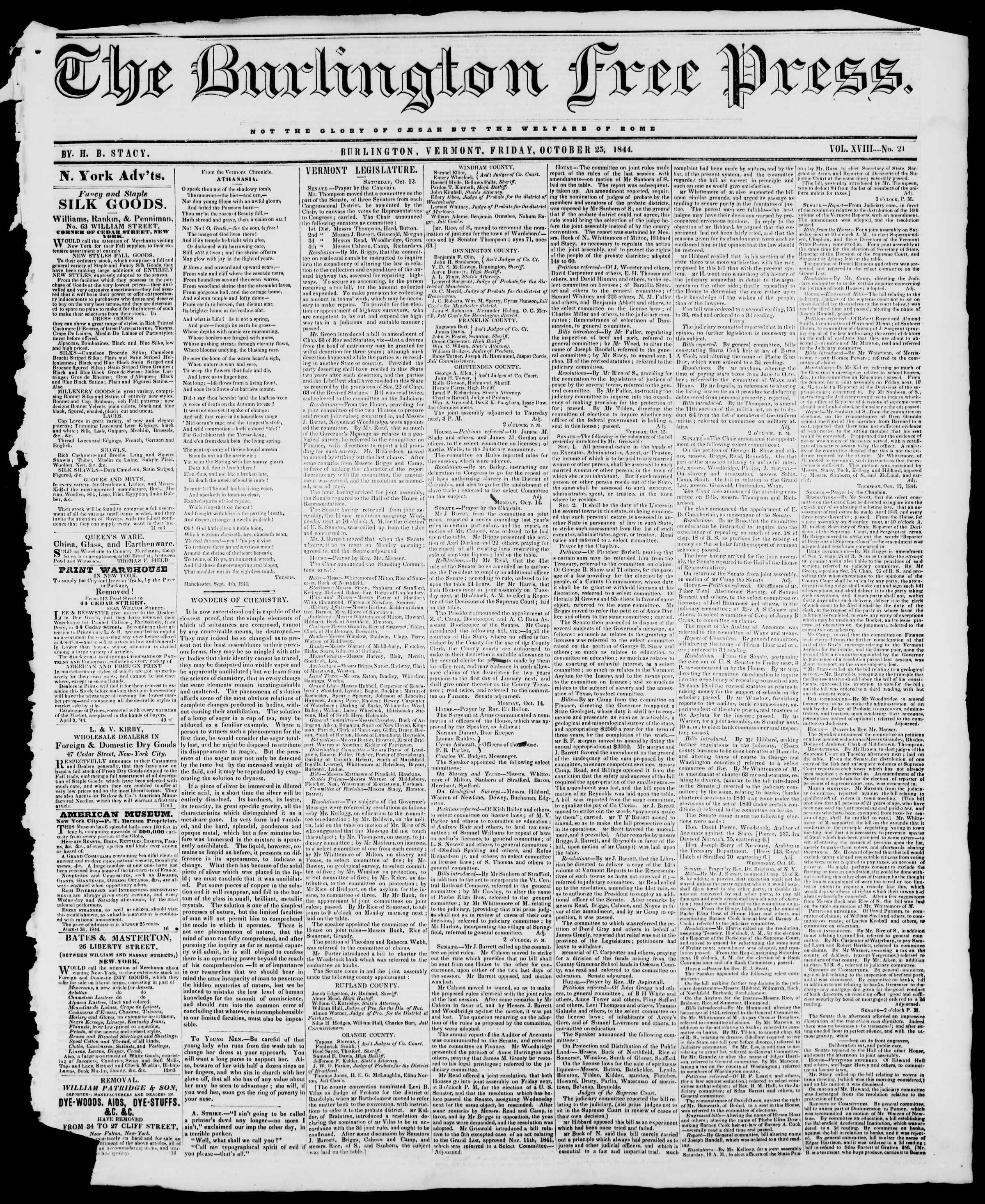 Newspaper of Burlington Free Press dated October 25, 1844 Page 1
