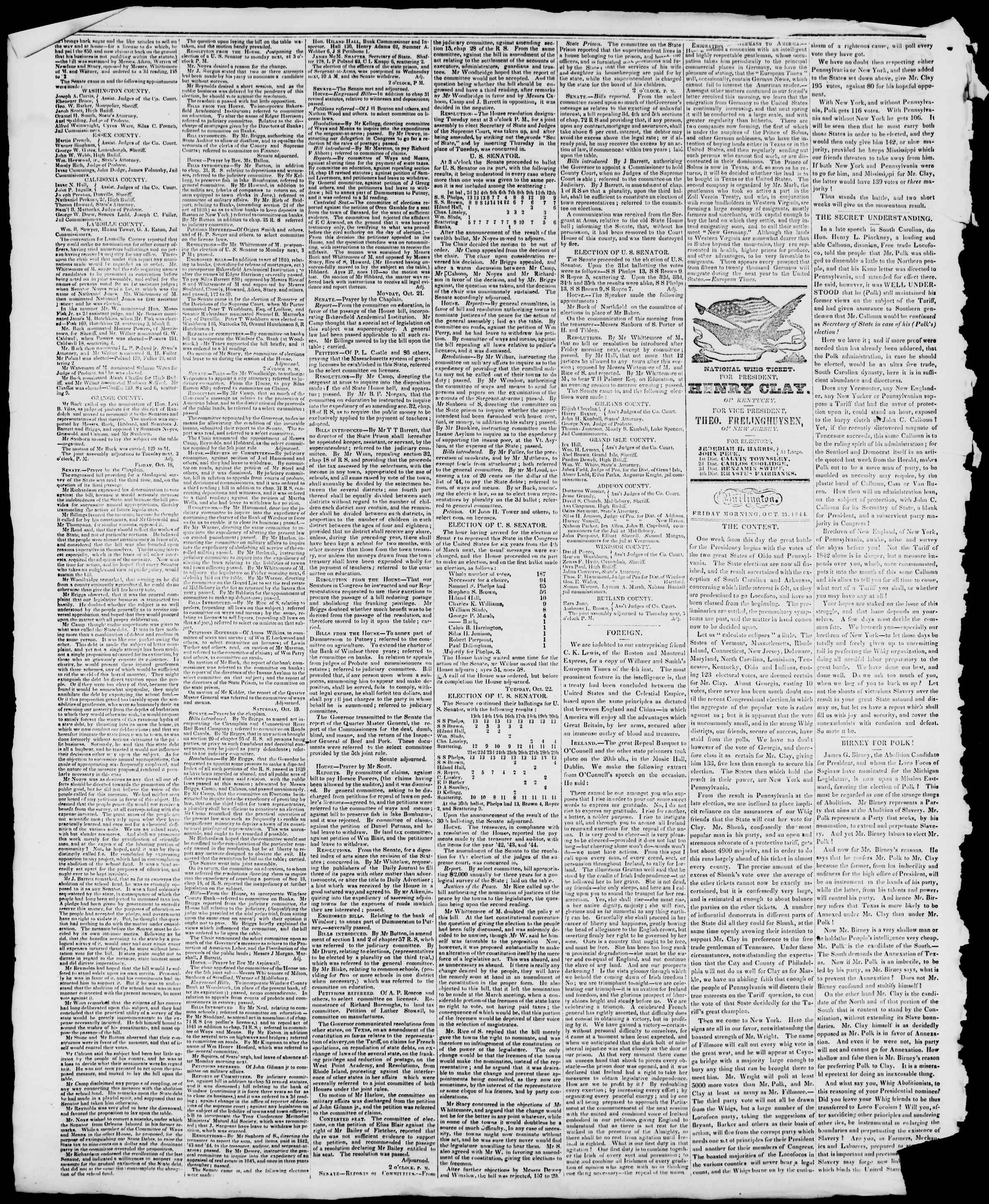 Newspaper of Burlington Free Press dated October 25, 1844 Page 2