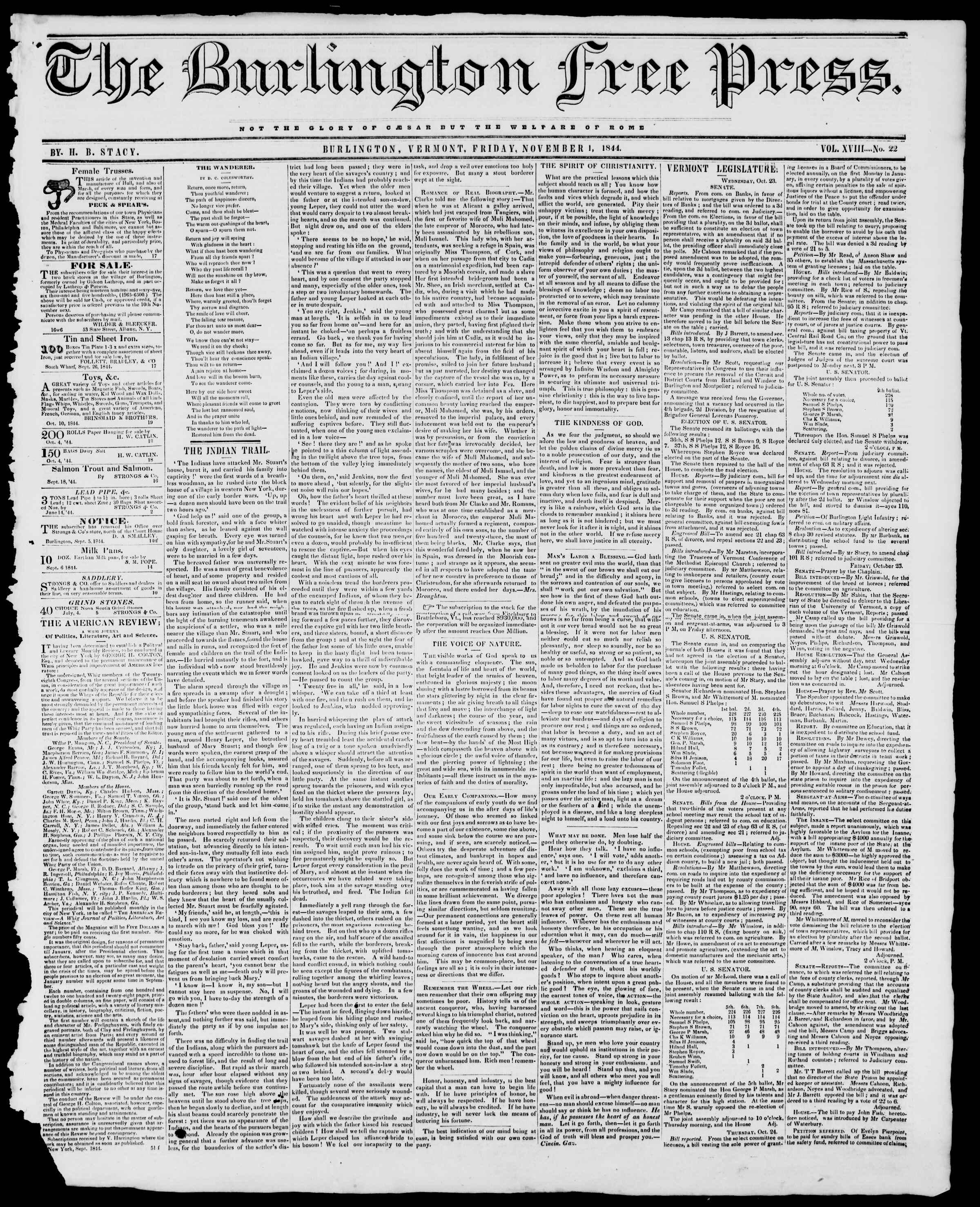 Newspaper of Burlington Free Press dated November 1, 1844 Page 1