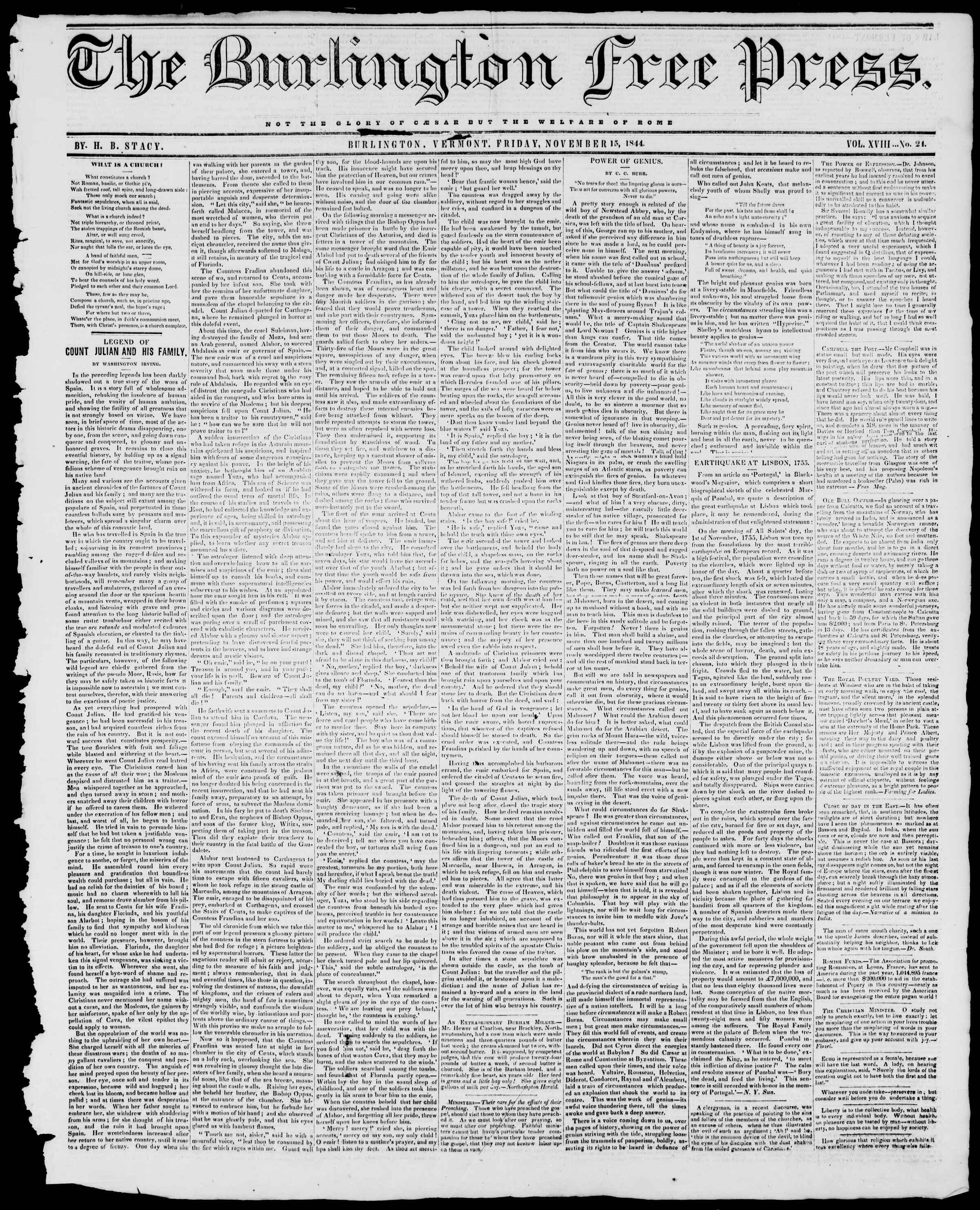 Newspaper of Burlington Free Press dated November 15, 1844 Page 1