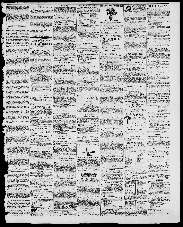 Newspaper of Burlington Free Press dated November 15, 1844 Page 3