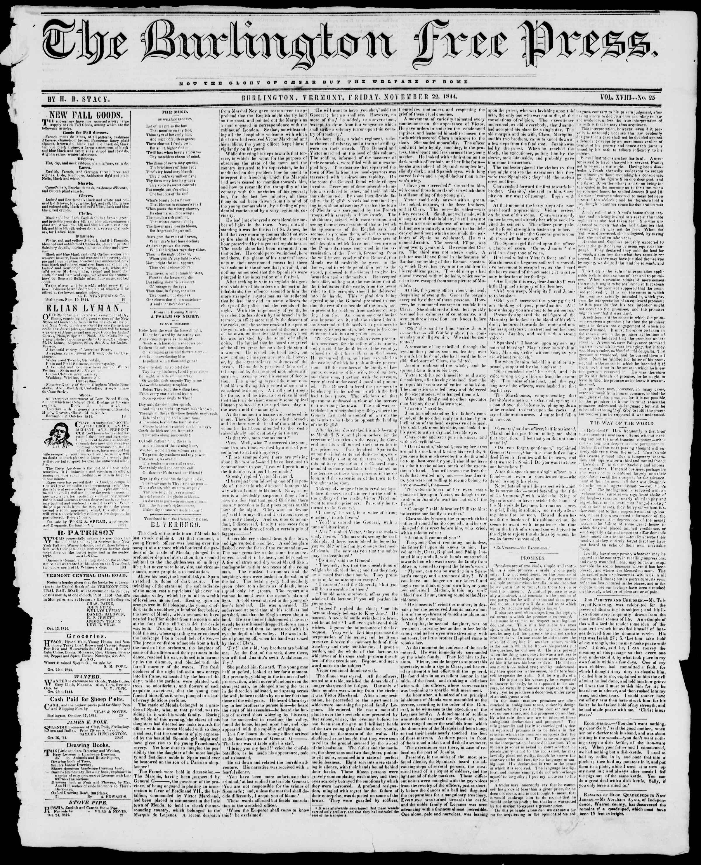 Newspaper of Burlington Free Press dated November 22, 1844 Page 1