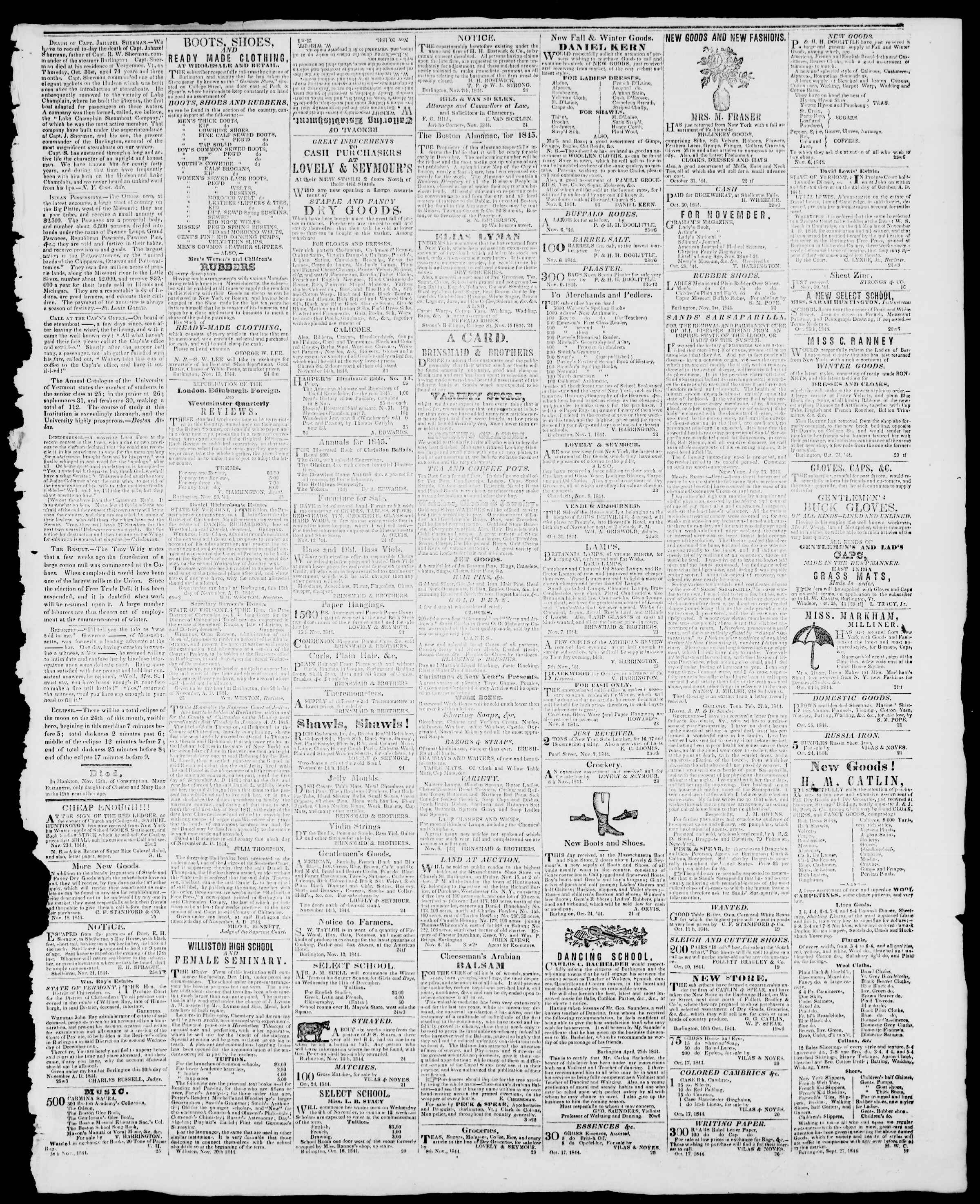 Newspaper of Burlington Free Press dated November 22, 1844 Page 3