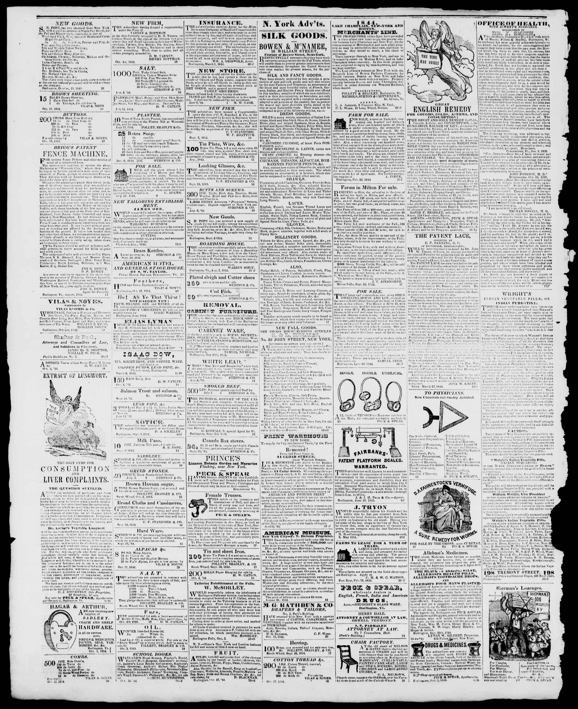 Newspaper of Burlington Free Press dated November 22, 1844 Page 4