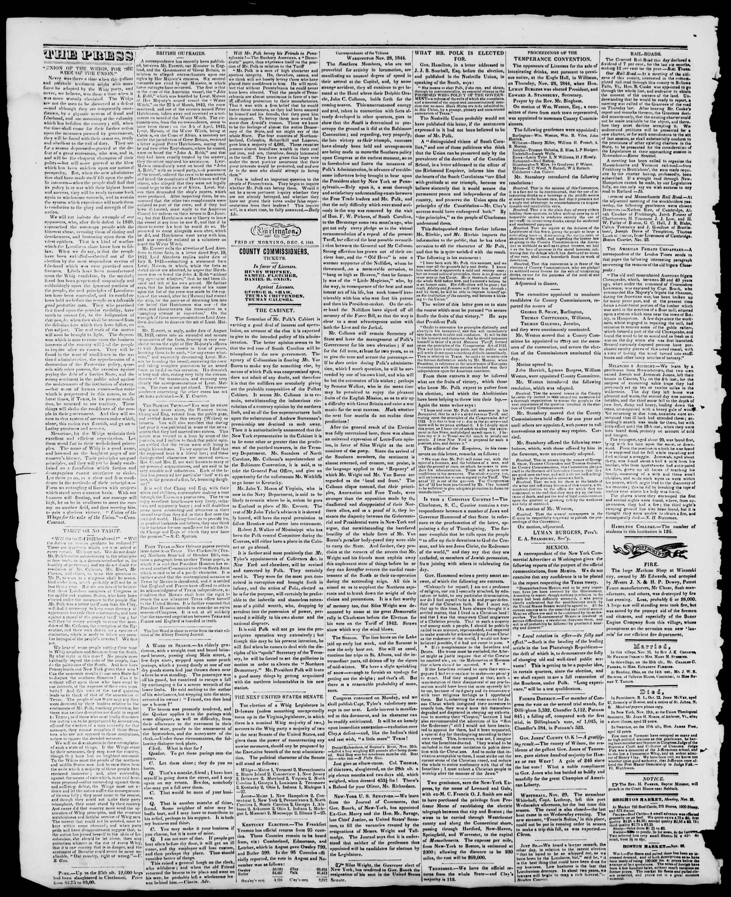 Newspaper of Burlington Free Press dated December 6, 1844 Page 2