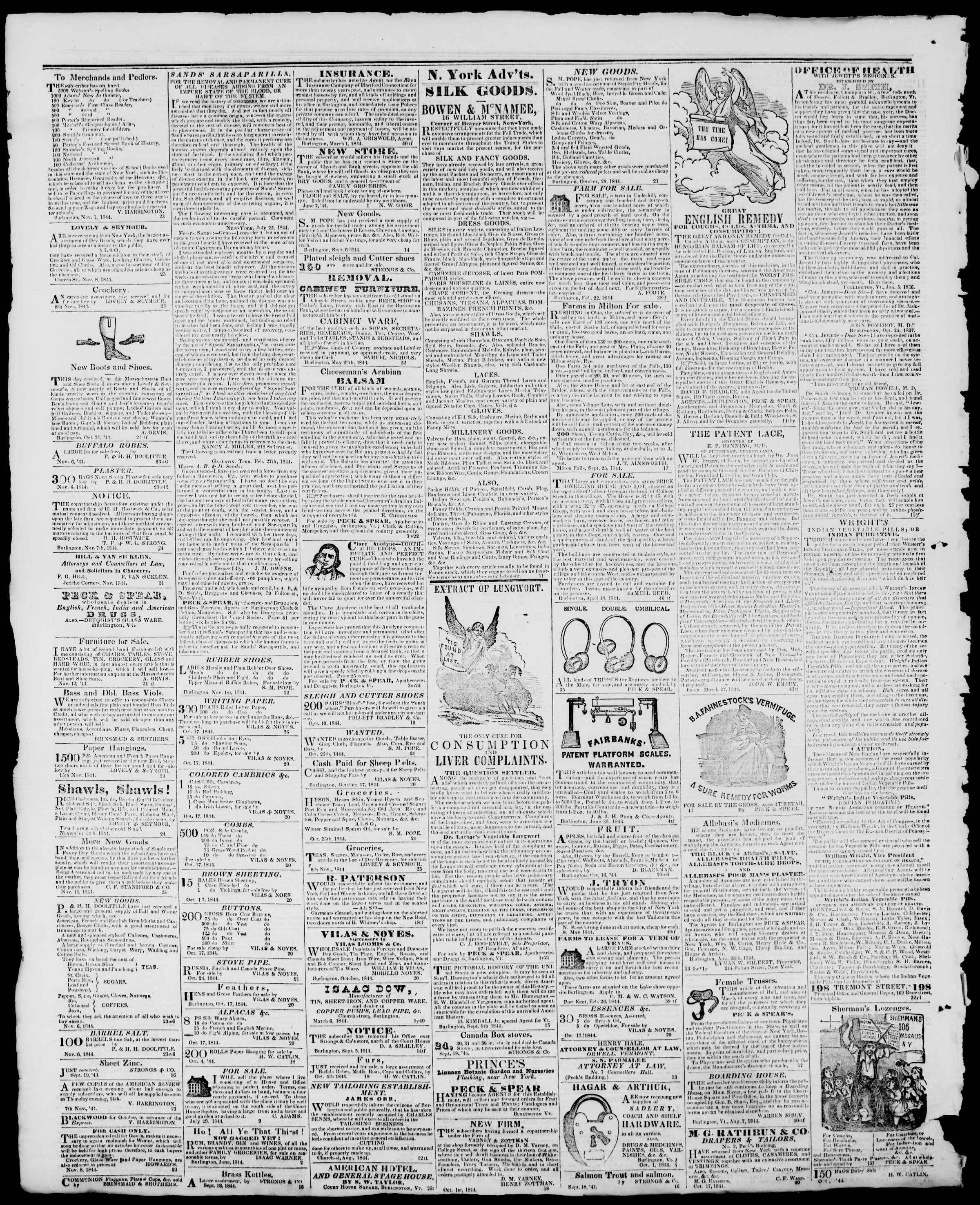 Newspaper of Burlington Free Press dated December 6, 1844 Page 4