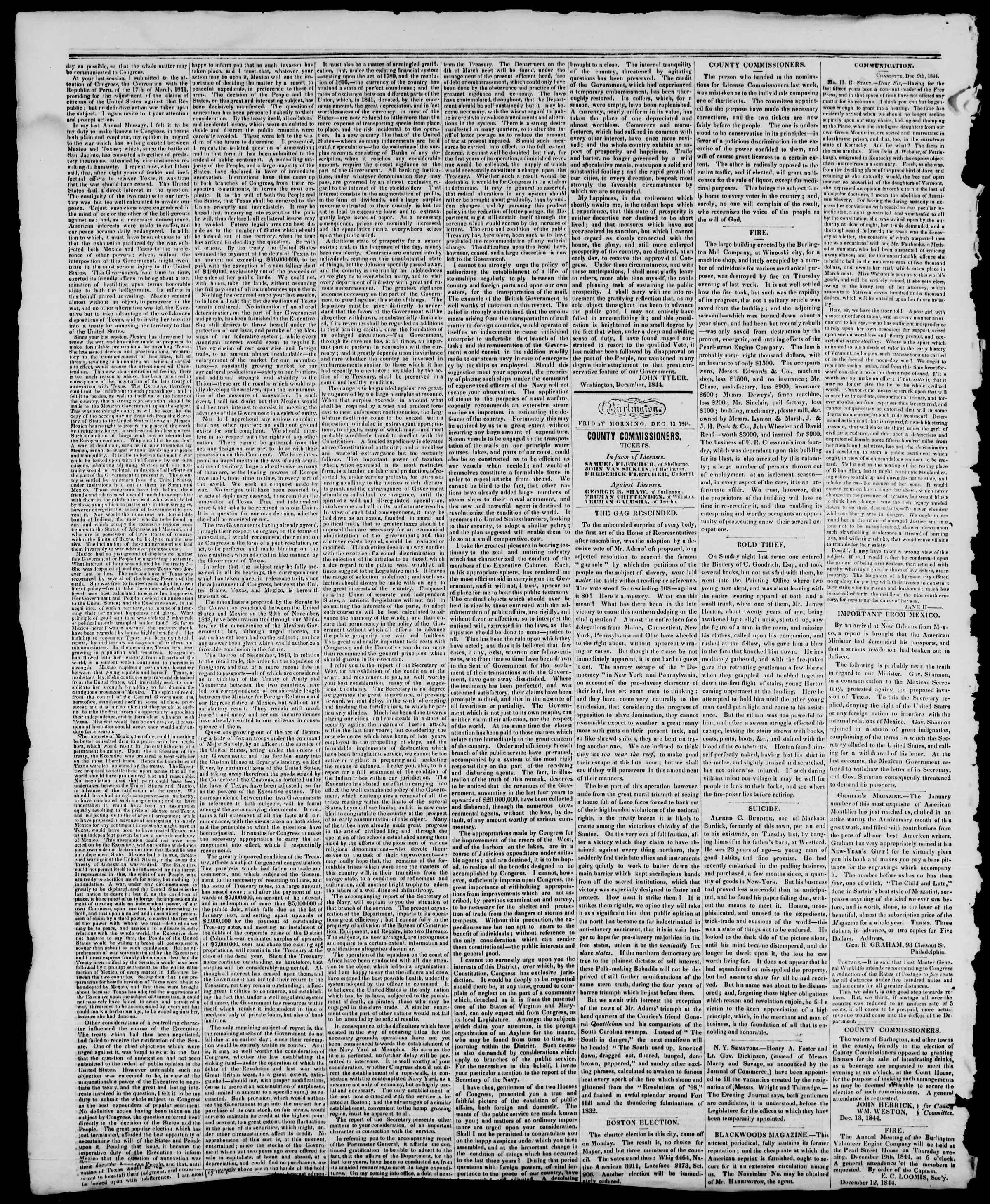 Newspaper of Burlington Free Press dated December 13, 1844 Page 2