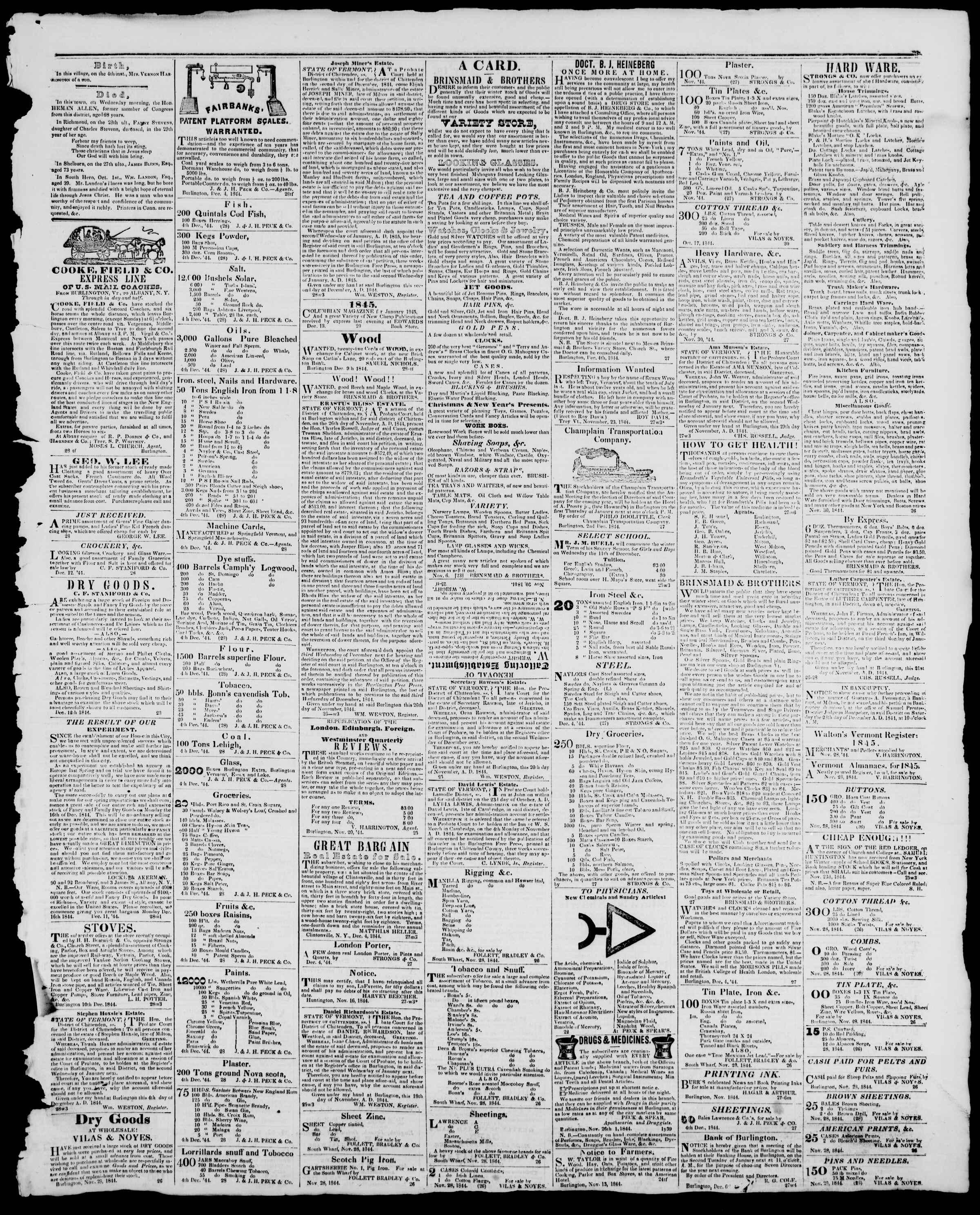 Newspaper of Burlington Free Press dated December 13, 1844 Page 3