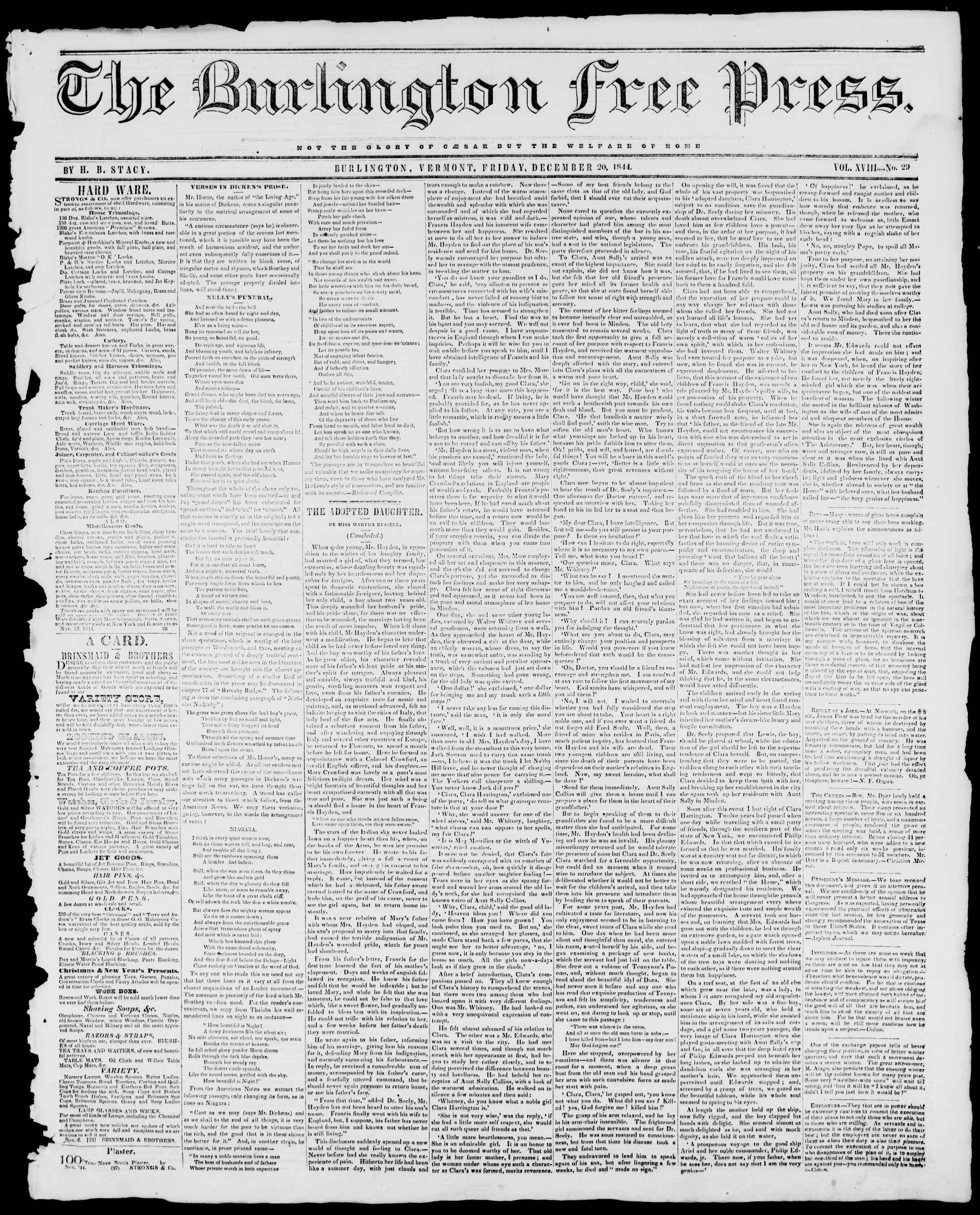 Newspaper of Burlington Free Press dated December 20, 1844 Page 1