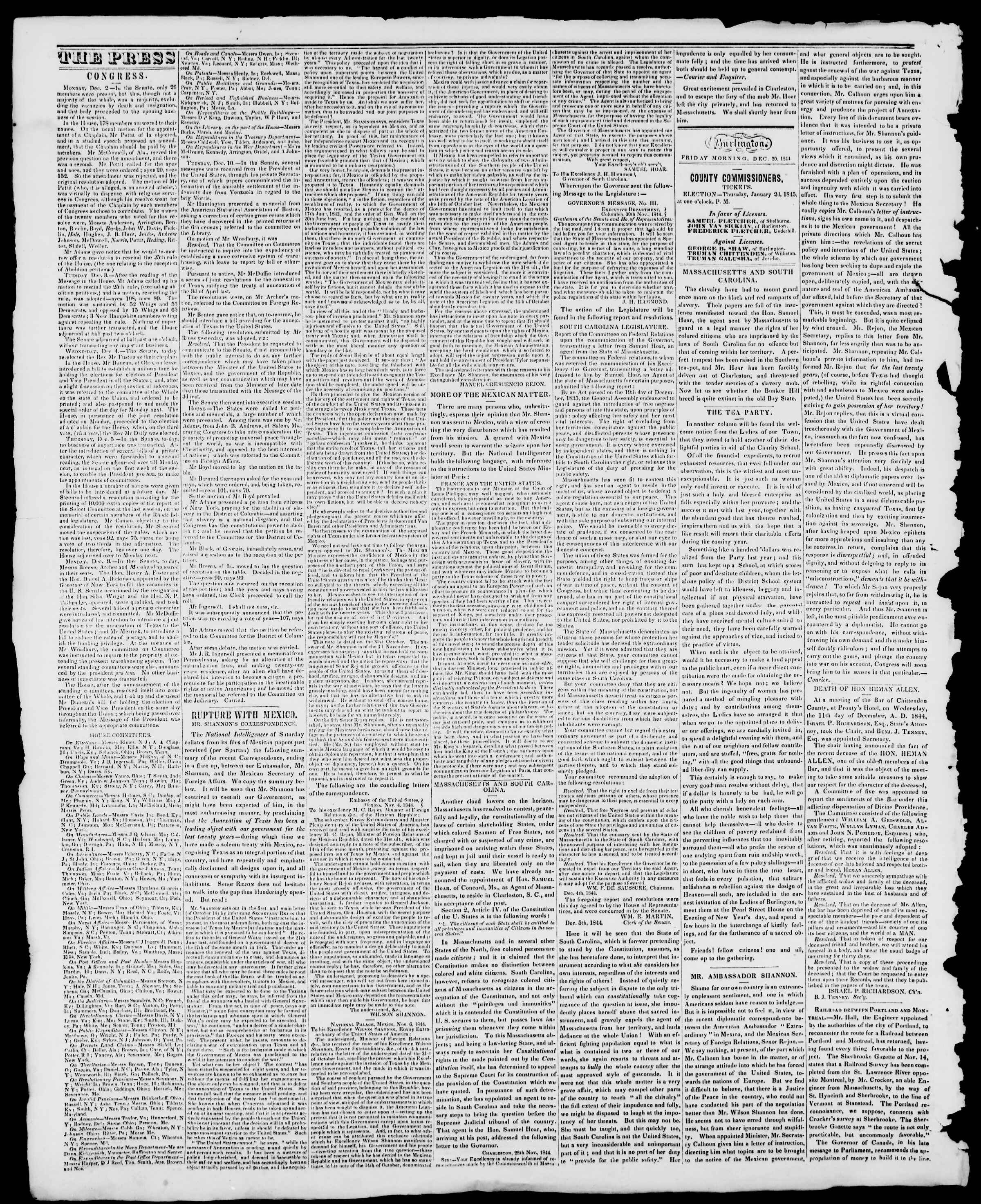 Newspaper of Burlington Free Press dated December 20, 1844 Page 2