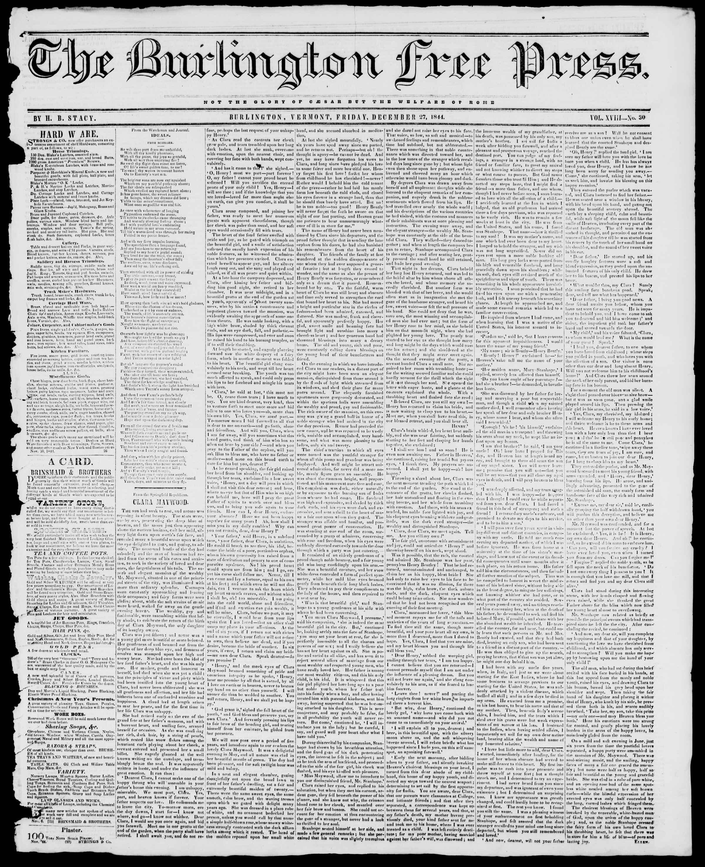 Newspaper of Burlington Free Press dated 27 Aralık 1844 Page 1