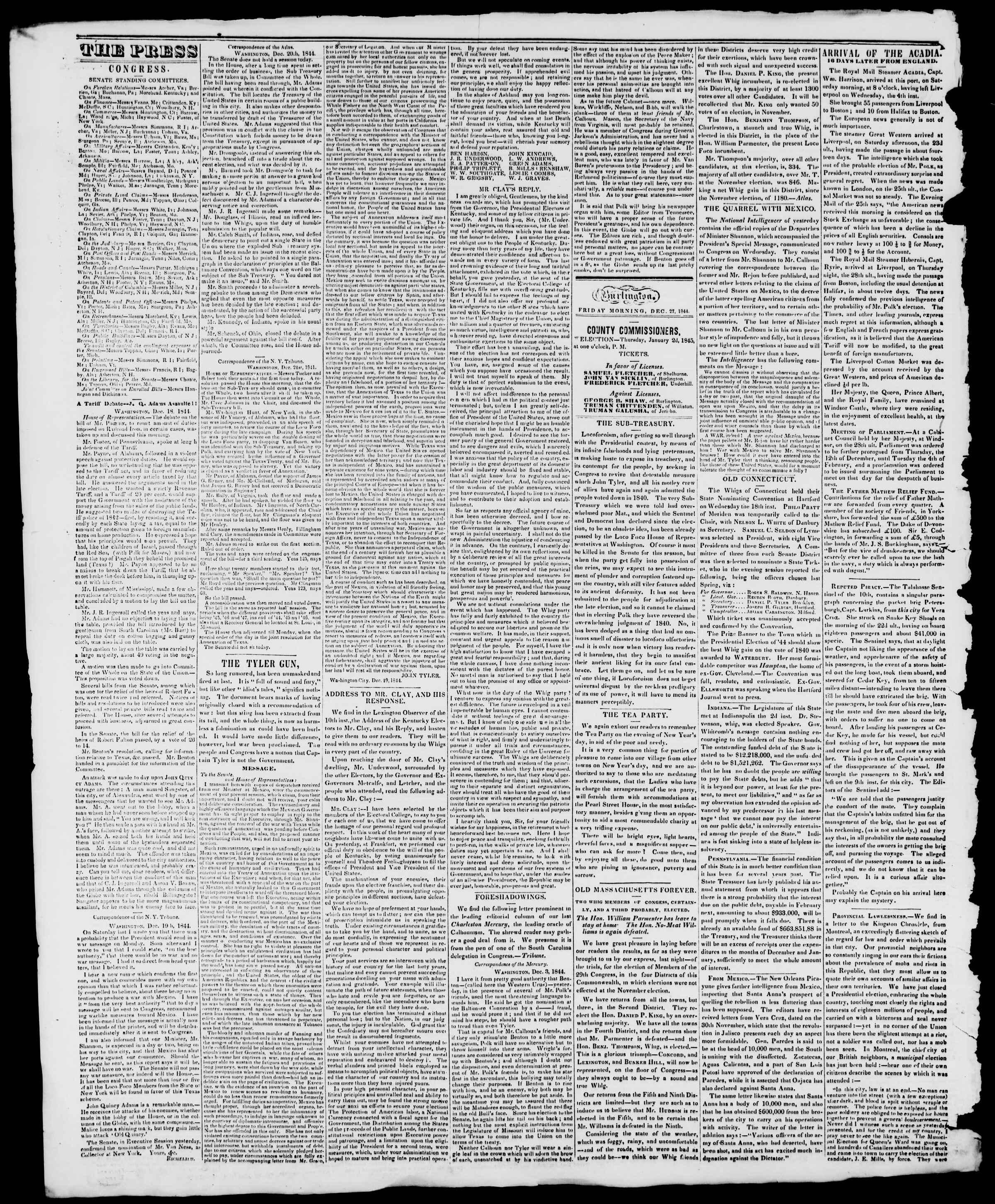 Newspaper of Burlington Free Press dated December 27, 1844 Page 2