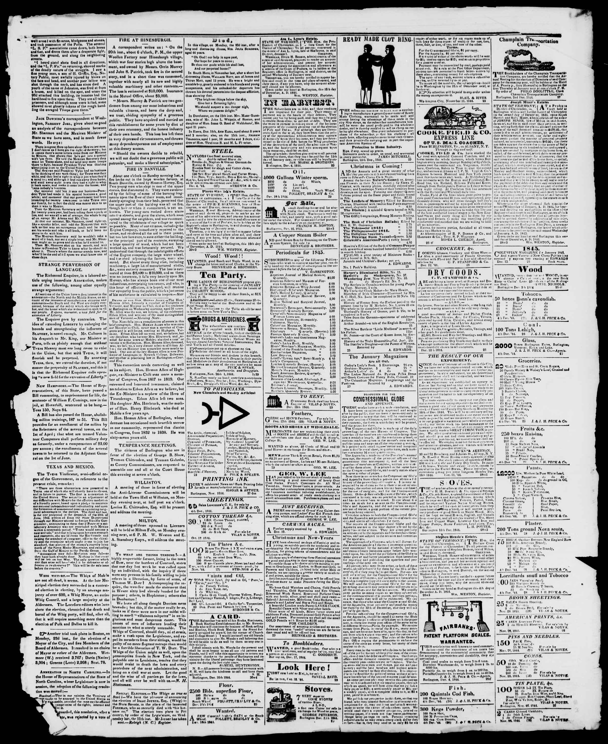 Newspaper of Burlington Free Press dated December 27, 1844 Page 3