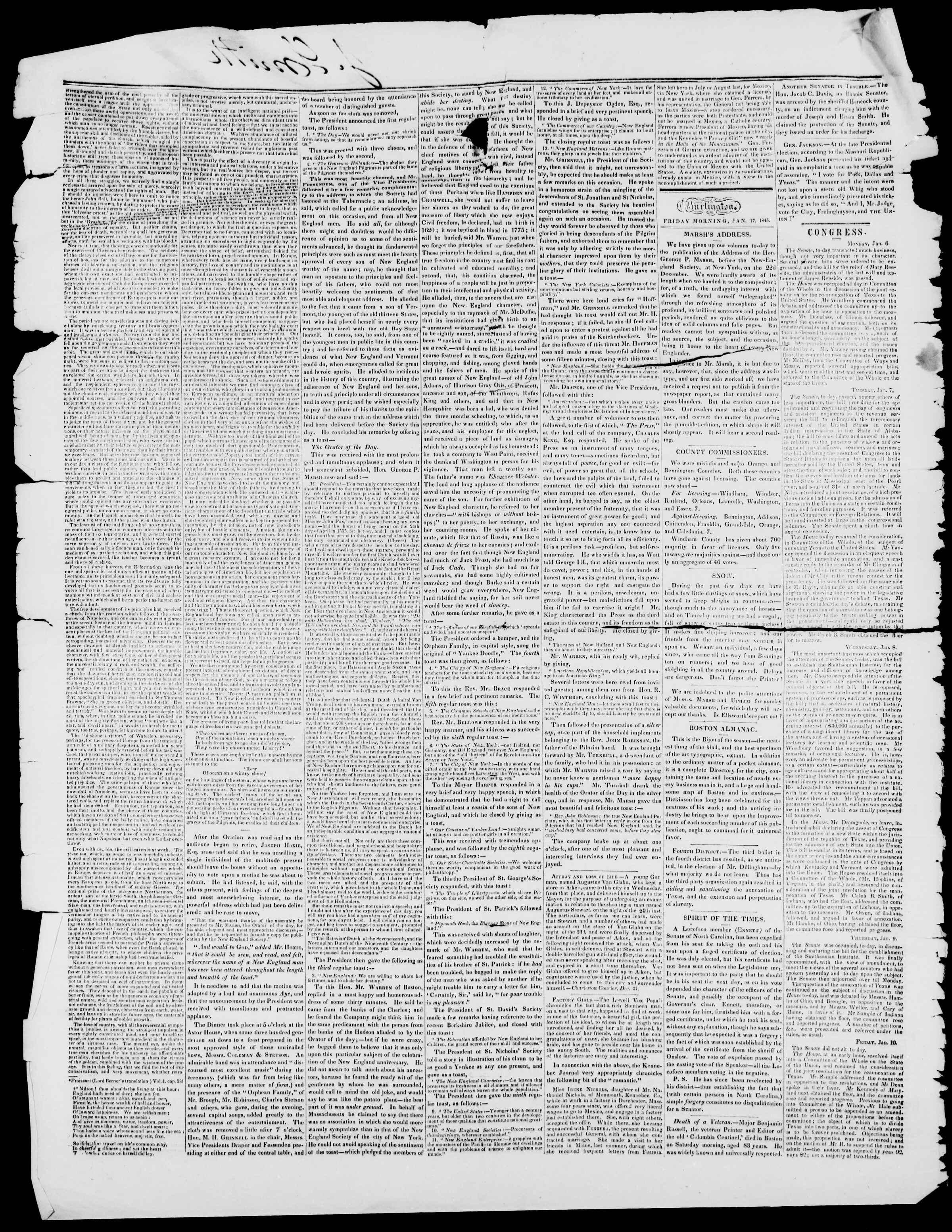 Newspaper of Burlington Free Press dated January 17, 1845 Page 2