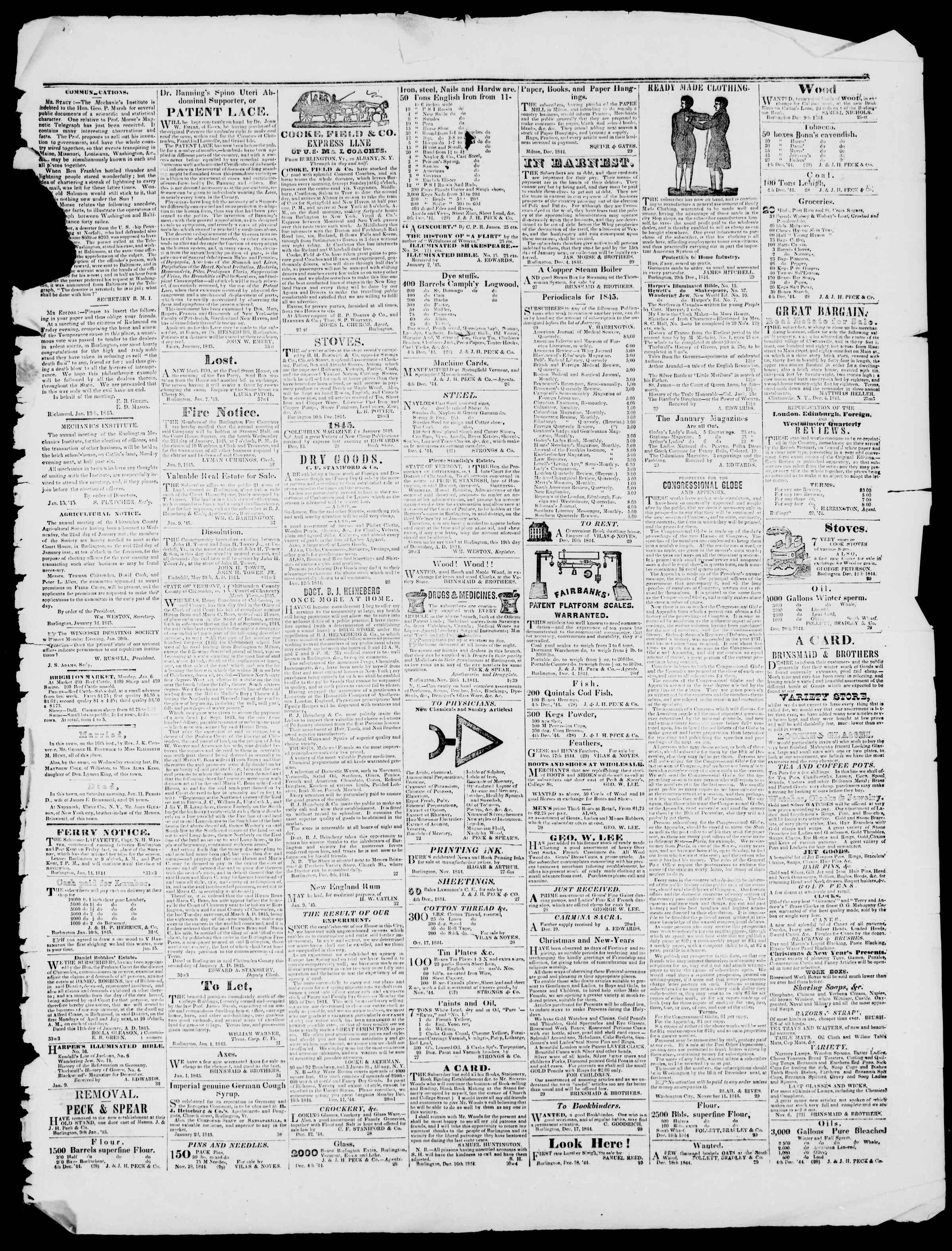 Newspaper of Burlington Free Press dated January 17, 1845 Page 3
