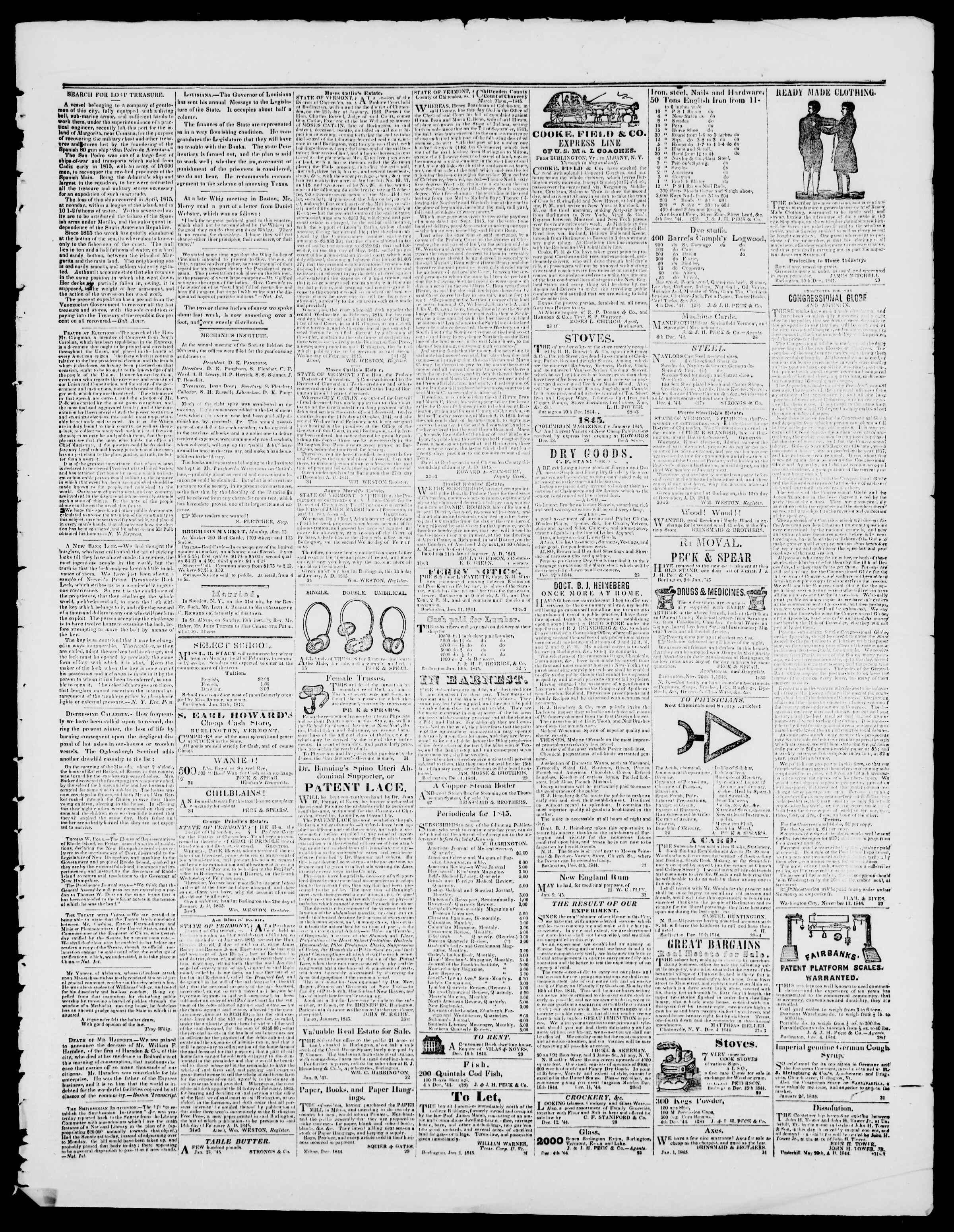 Newspaper of Burlington Free Press dated January 24, 1845 Page 3