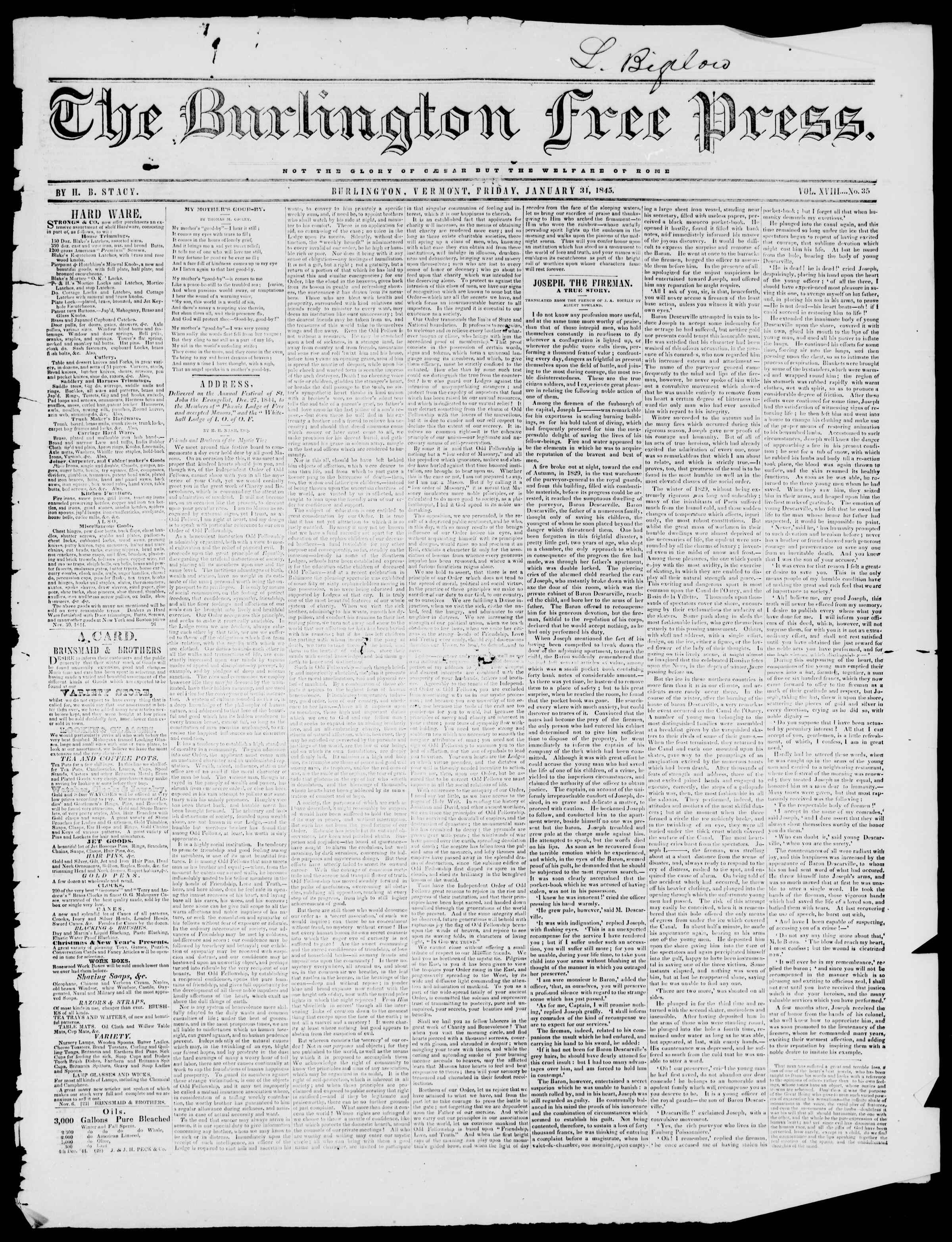 Newspaper of Burlington Free Press dated January 31, 1845 Page 1