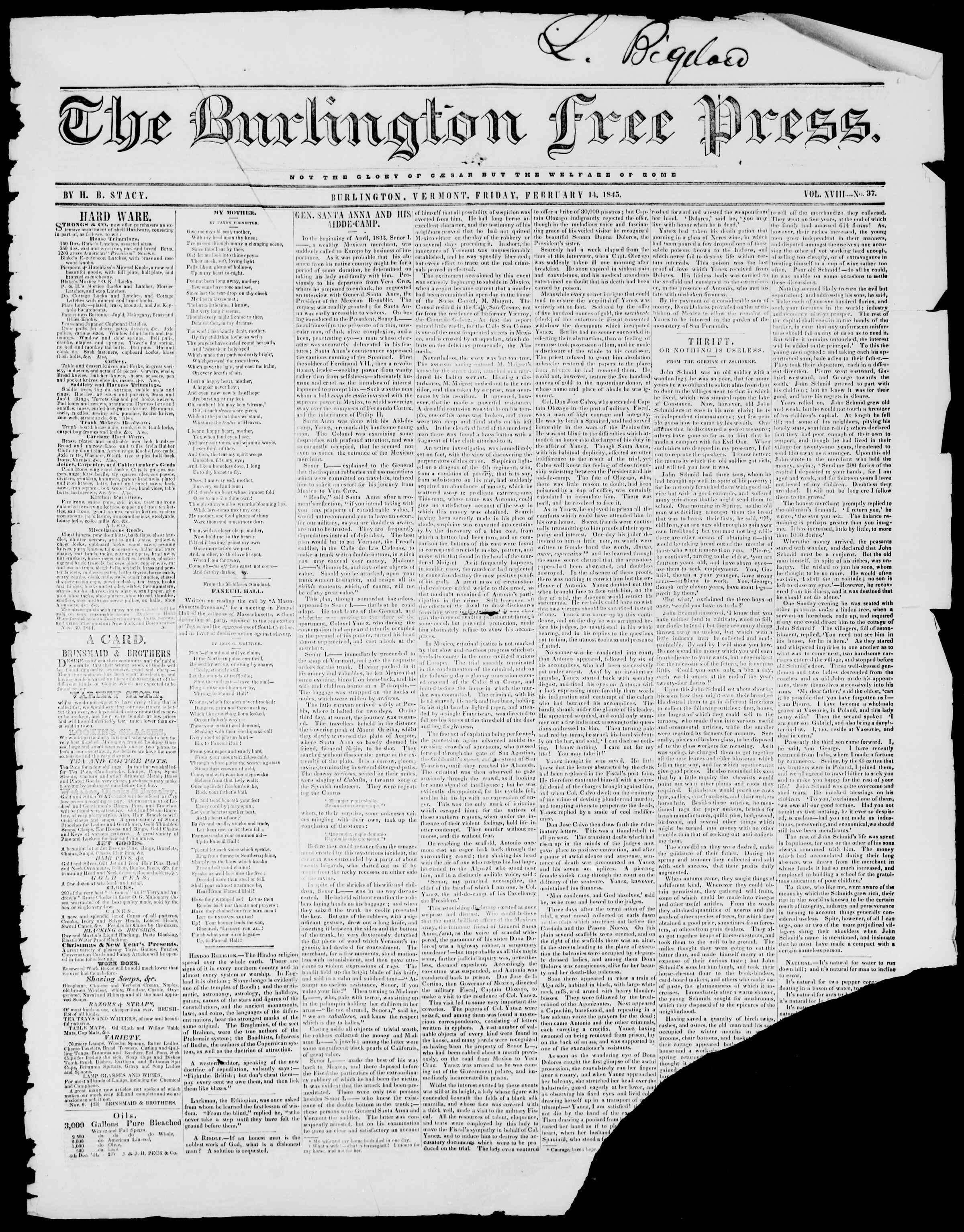 Newspaper of Burlington Free Press dated February 14, 1845 Page 1