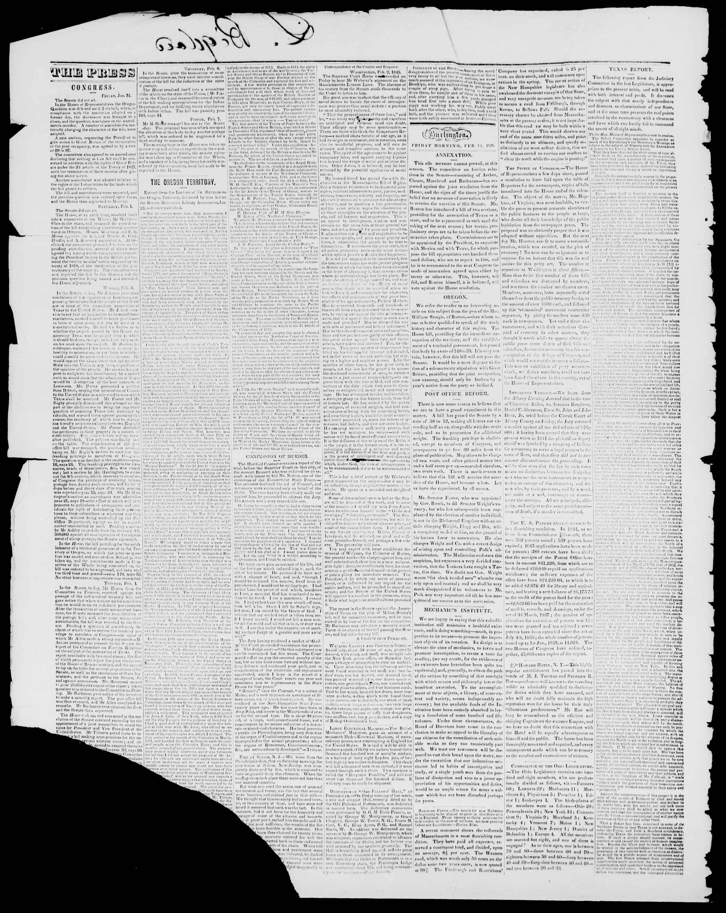 Newspaper of Burlington Free Press dated February 14, 1845 Page 2