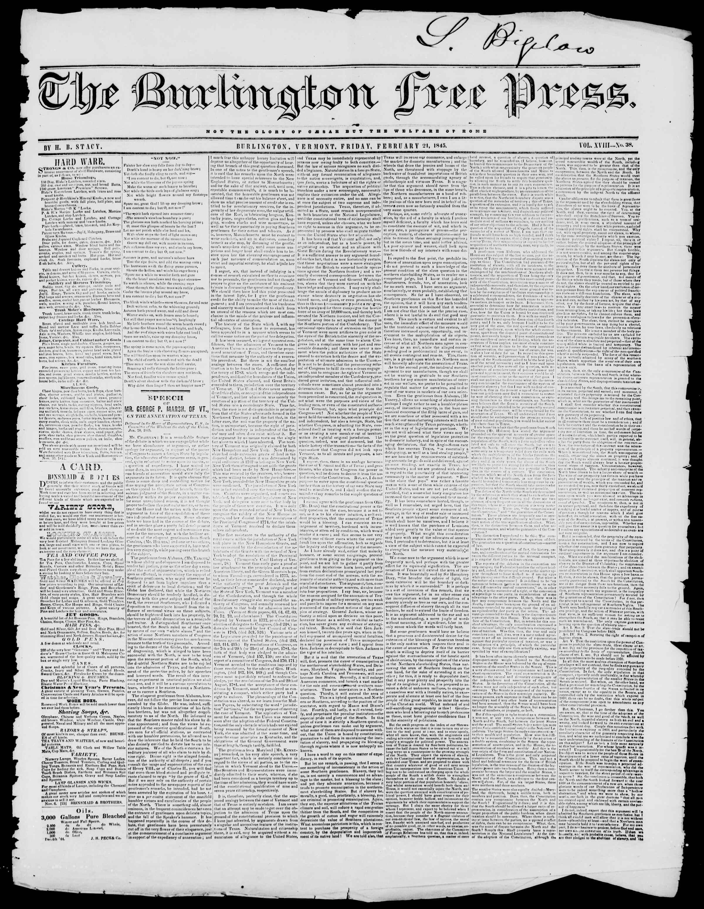 Newspaper of Burlington Free Press dated February 21, 1845 Page 1