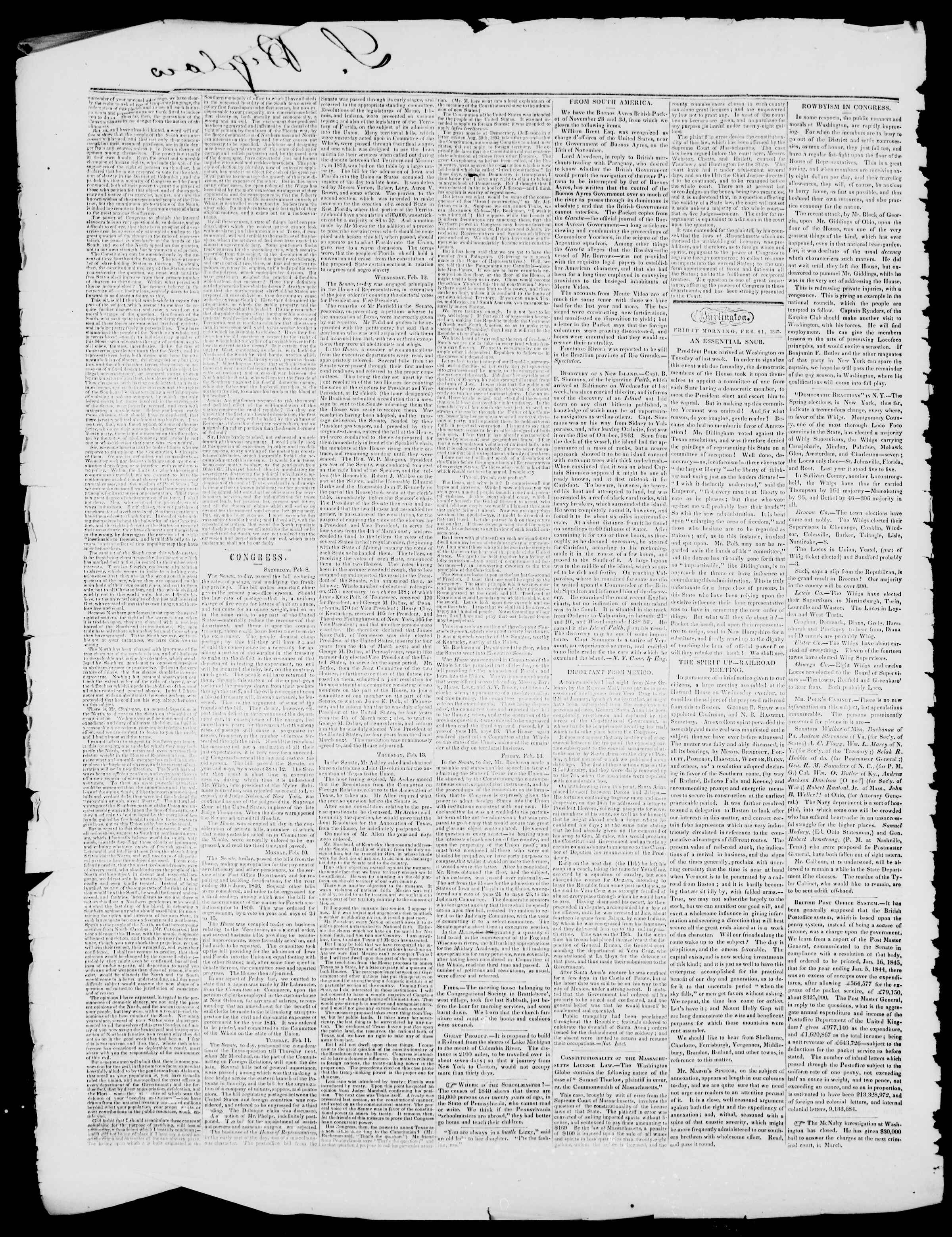 Newspaper of Burlington Free Press dated February 21, 1845 Page 2