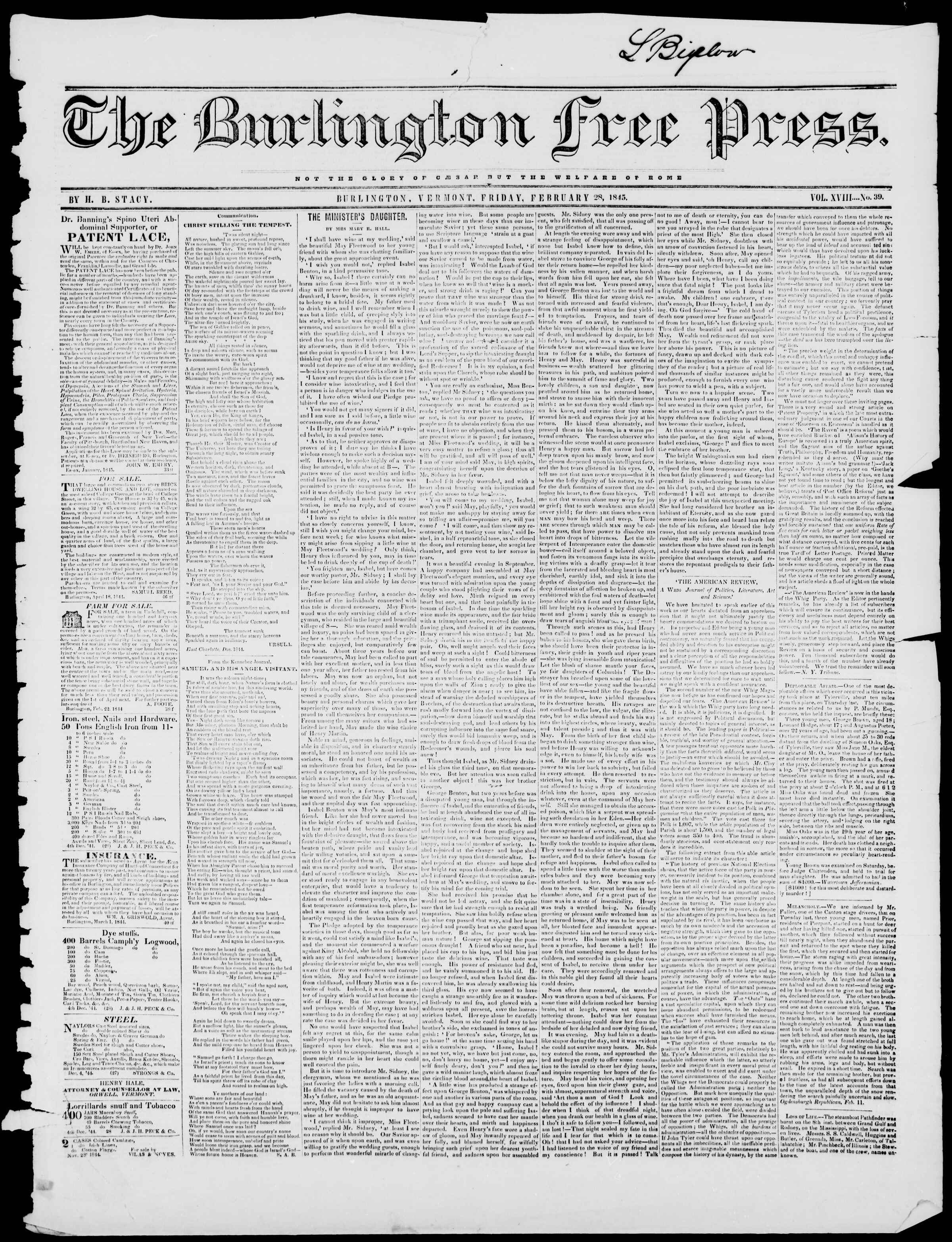 Newspaper of Burlington Free Press dated February 28, 1845 Page 1