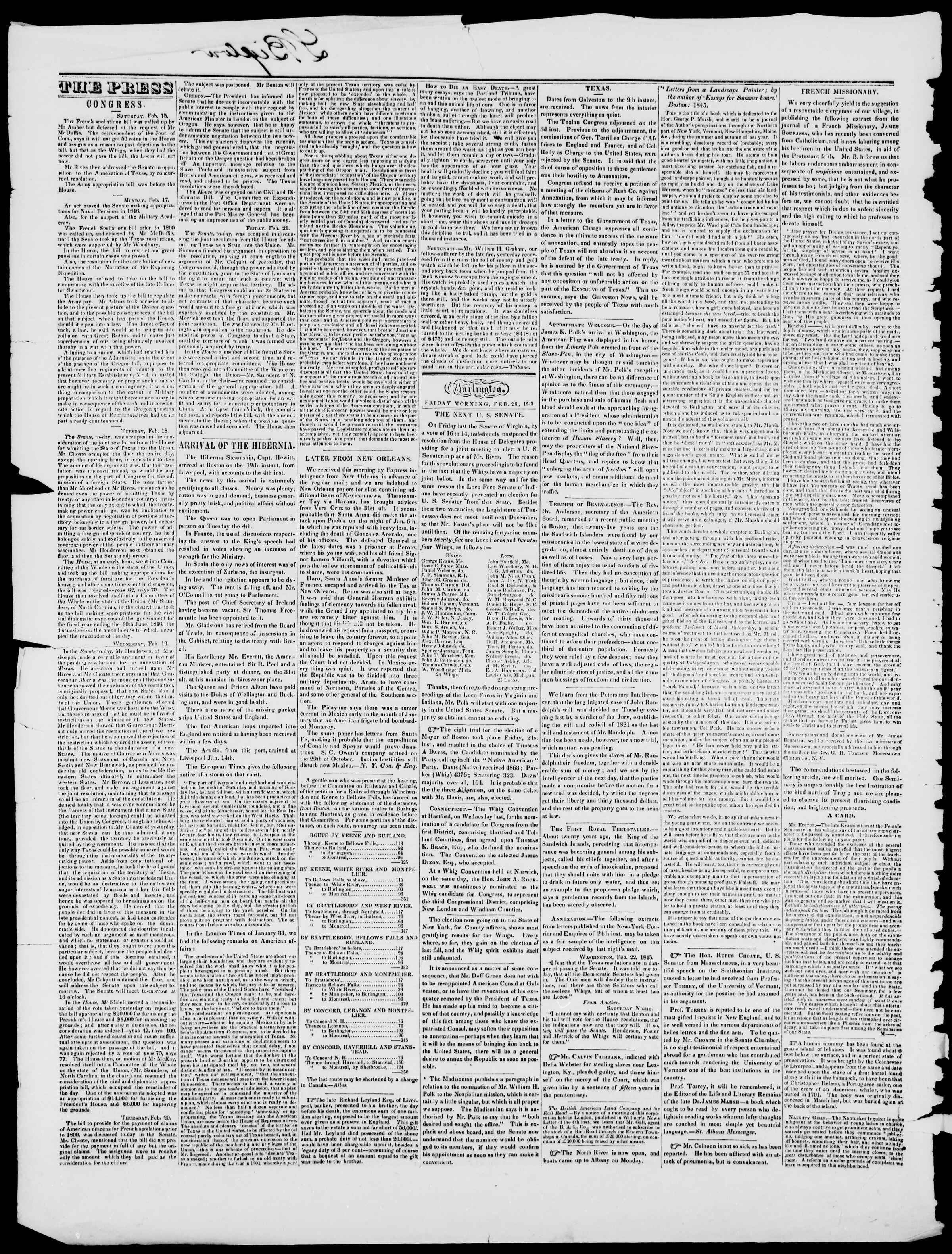 Newspaper of Burlington Free Press dated February 28, 1845 Page 2