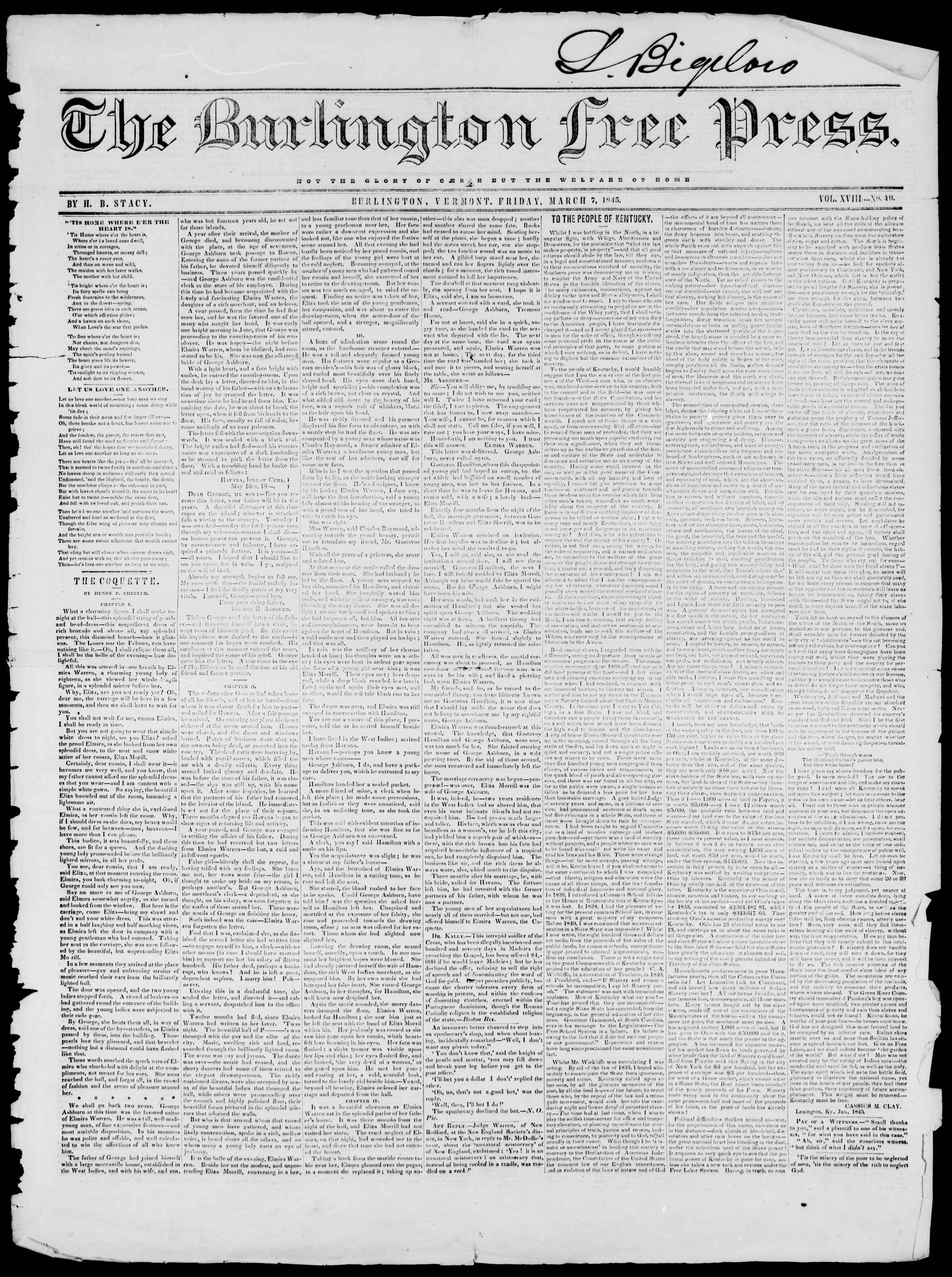 Newspaper of Burlington Free Press dated March 7, 1845 Page 1
