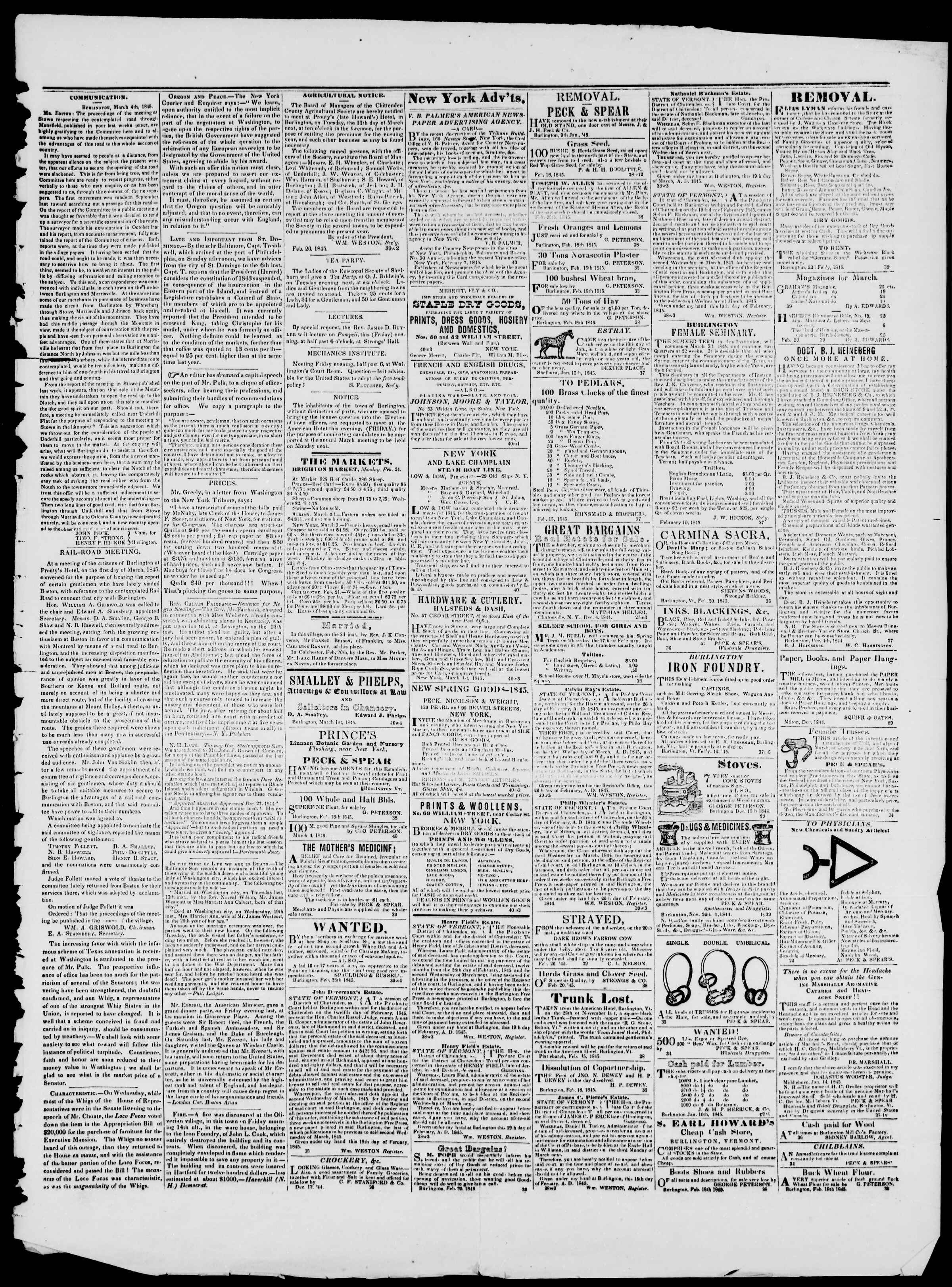 Newspaper of Burlington Free Press dated March 7, 1845 Page 3