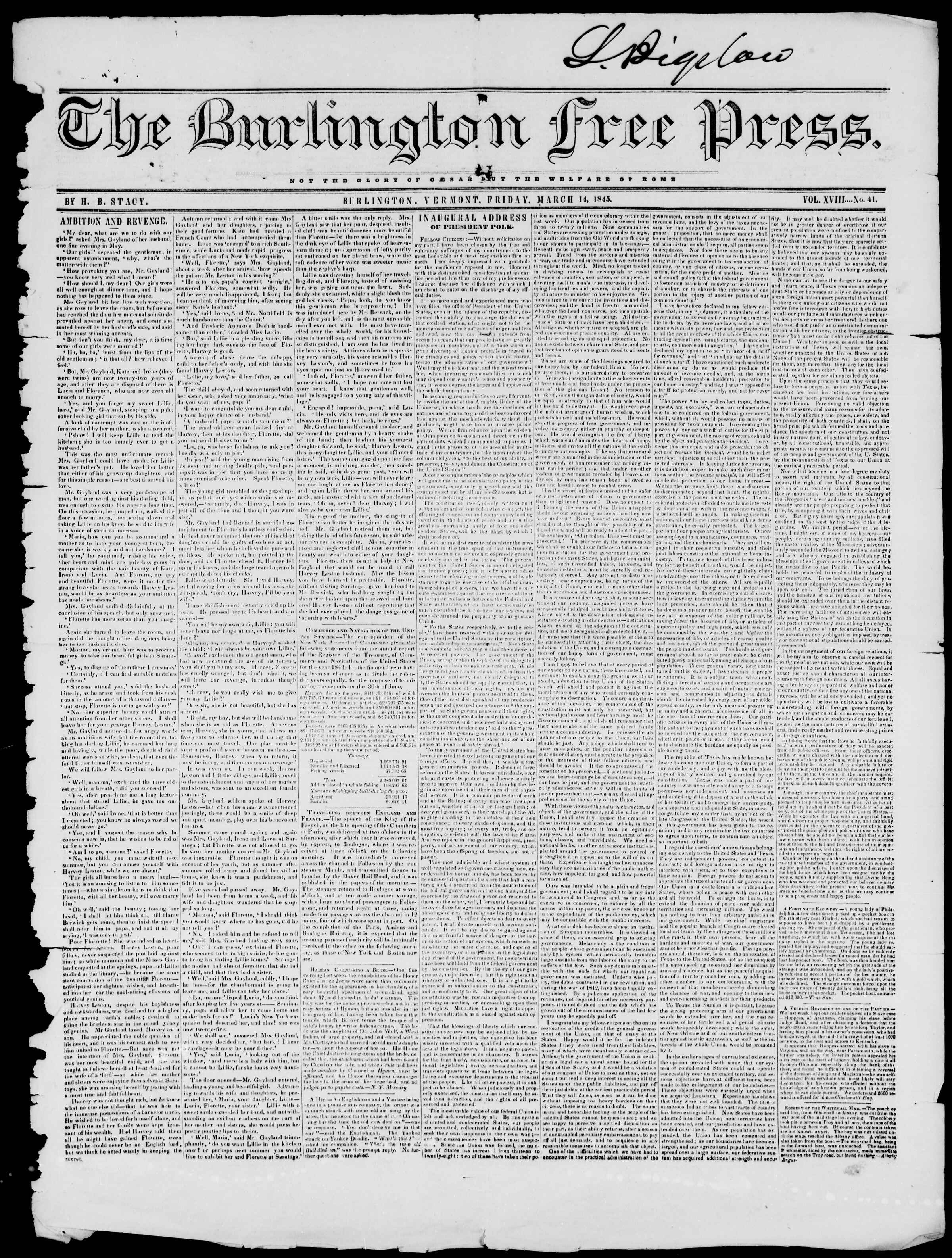 Newspaper of Burlington Free Press dated March 14, 1845 Page 1