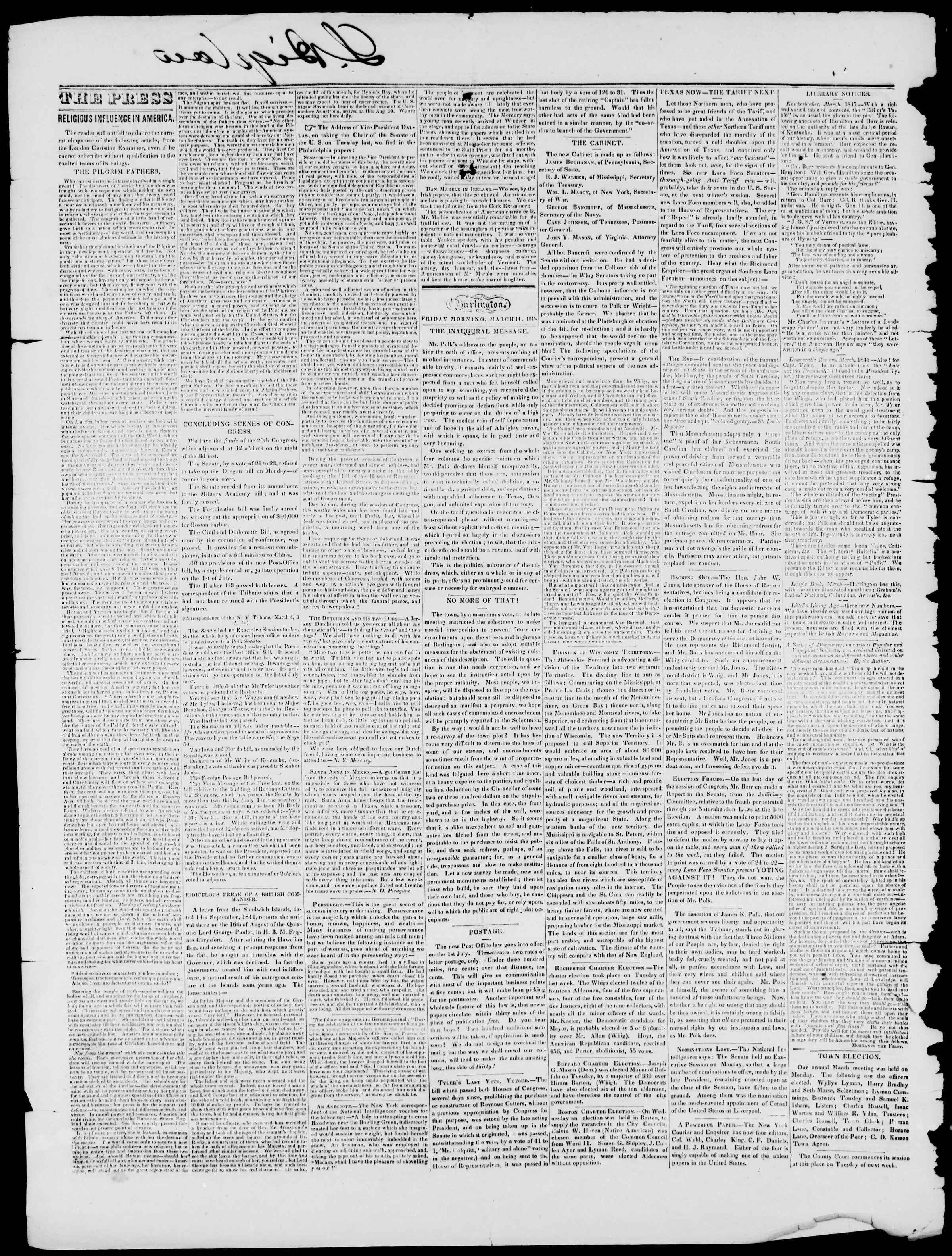 Newspaper of Burlington Free Press dated March 14, 1845 Page 2