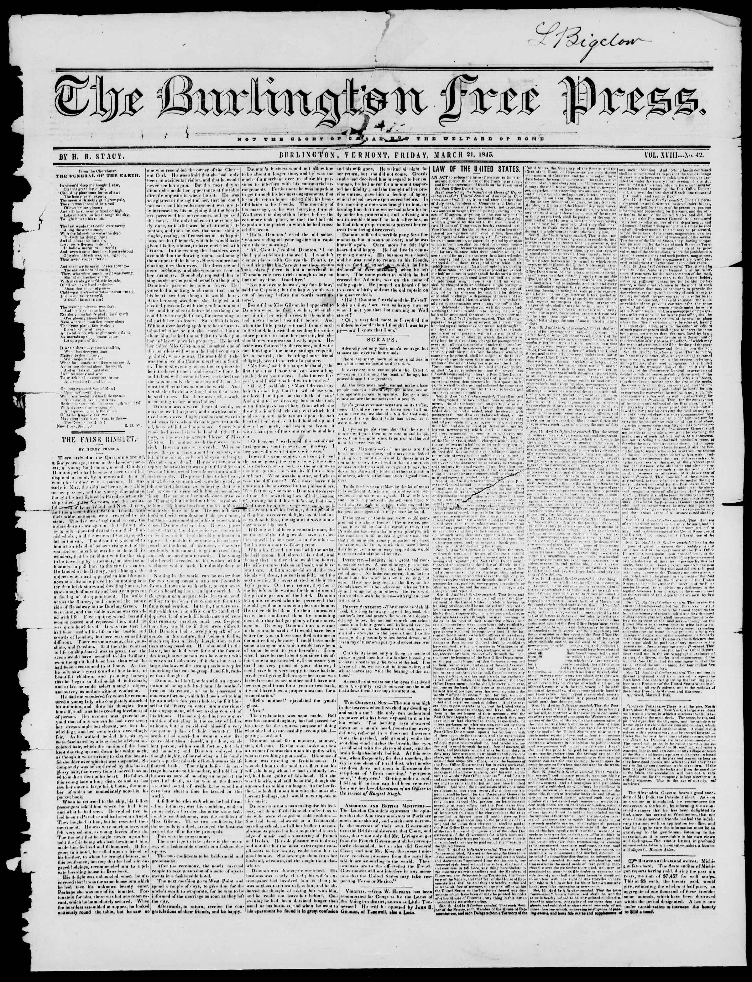 Newspaper of Burlington Free Press dated March 21, 1845 Page 1