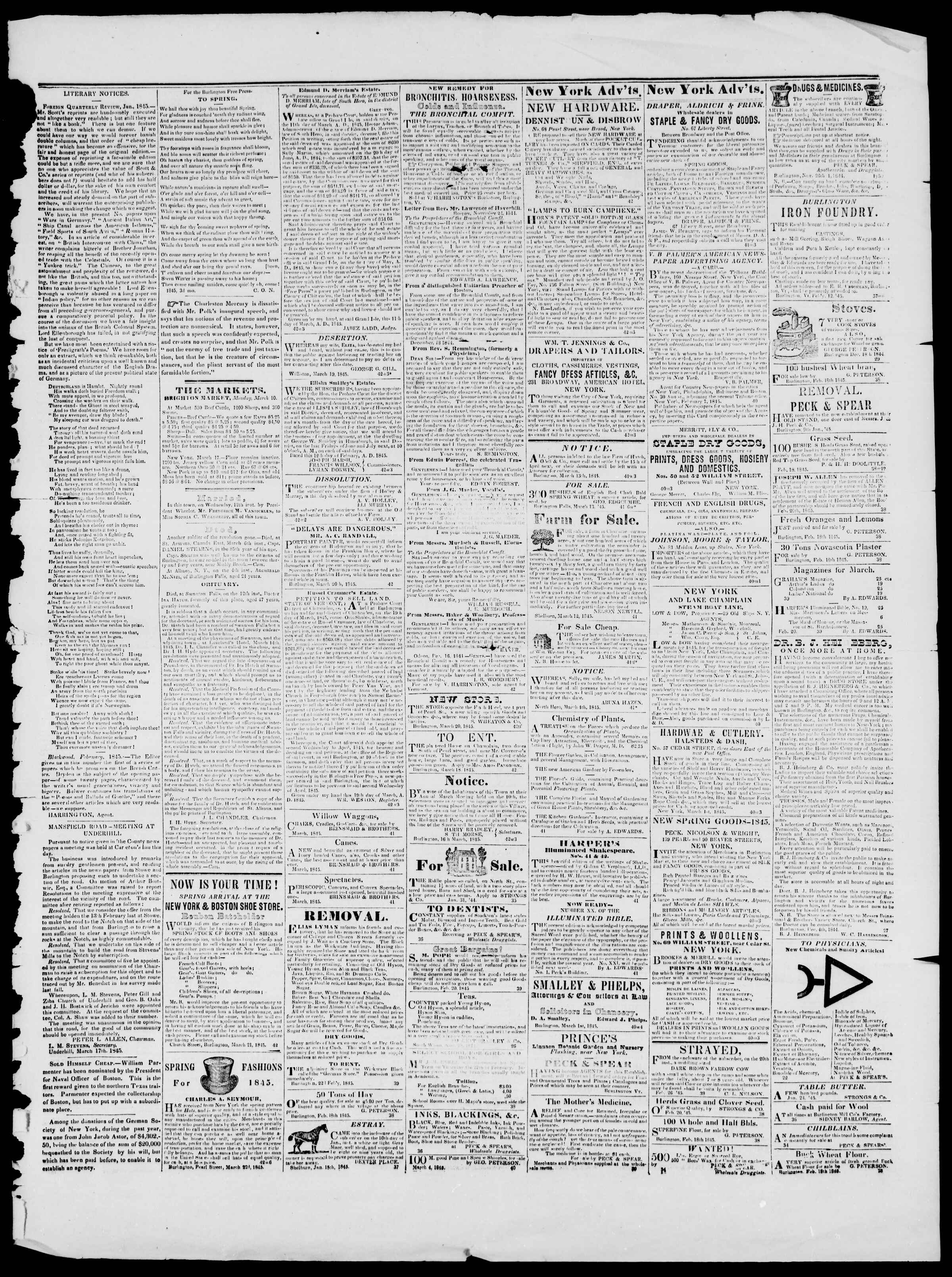 Newspaper of Burlington Free Press dated March 21, 1845 Page 3