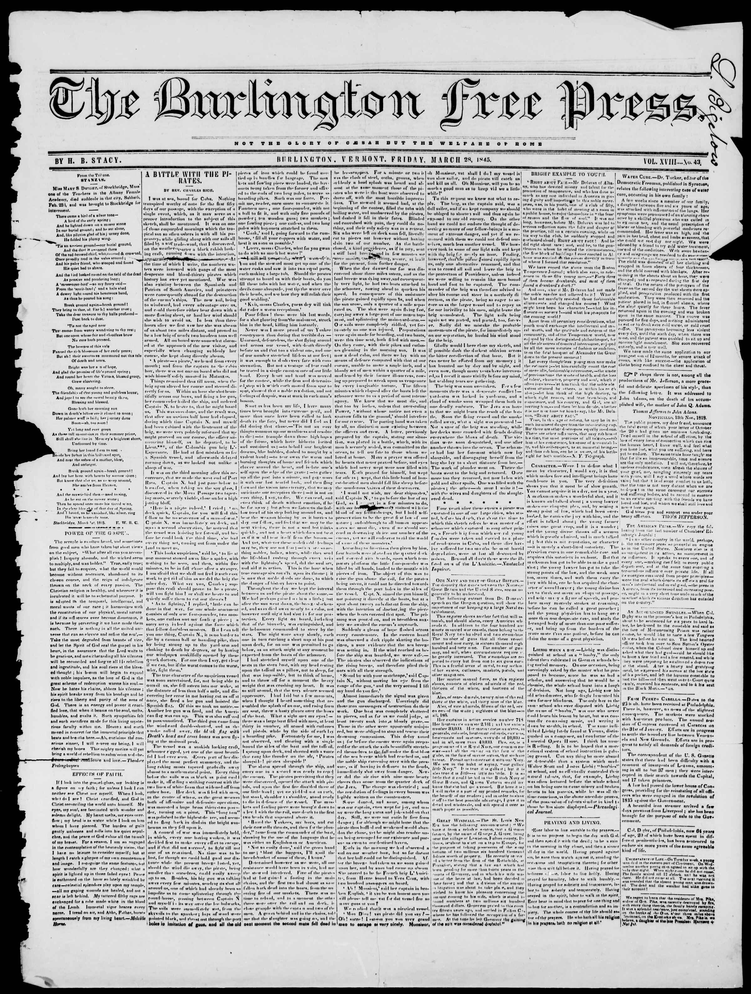 Newspaper of Burlington Free Press dated March 28, 1845 Page 1