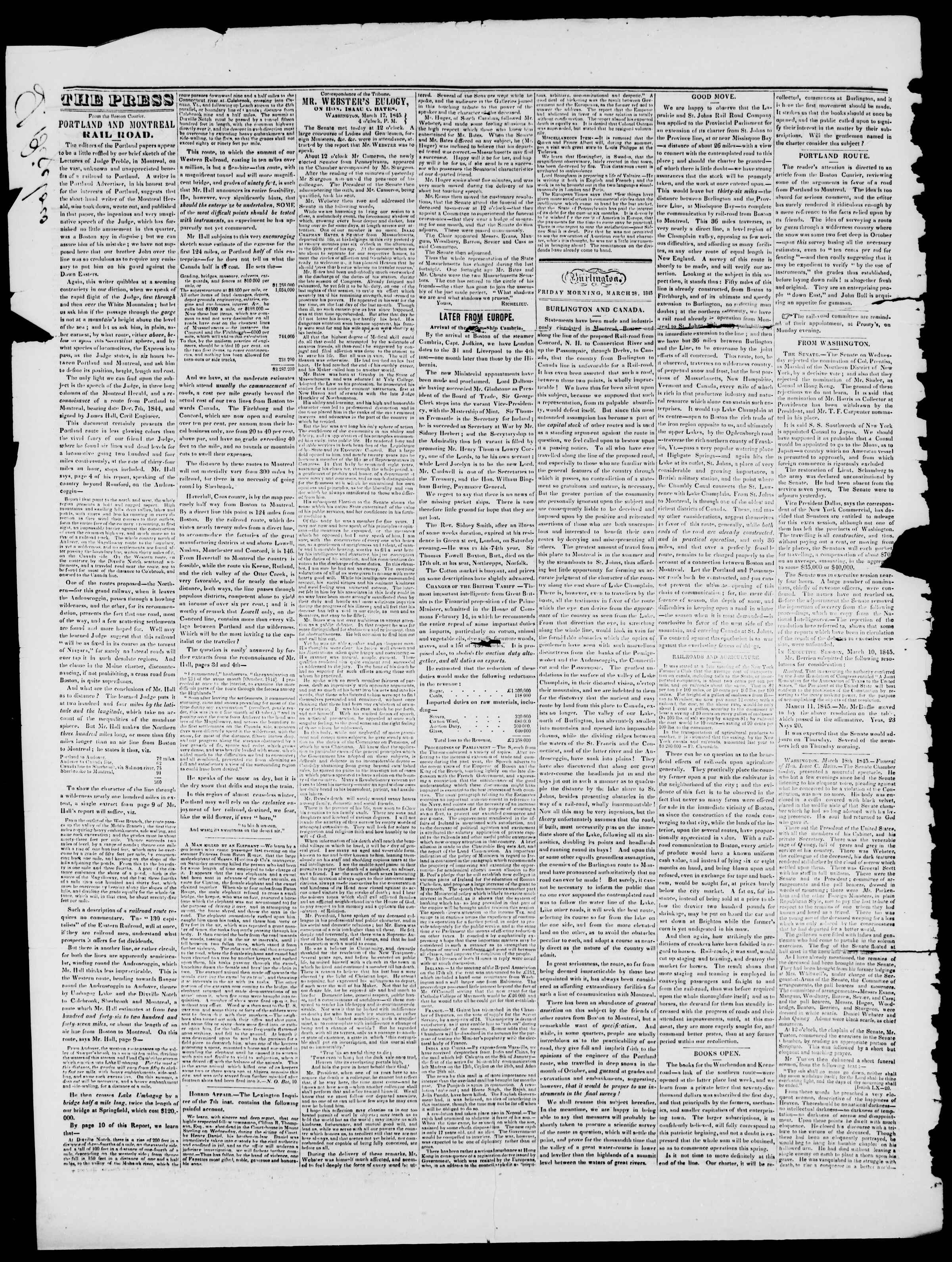 Newspaper of Burlington Free Press dated March 28, 1845 Page 2