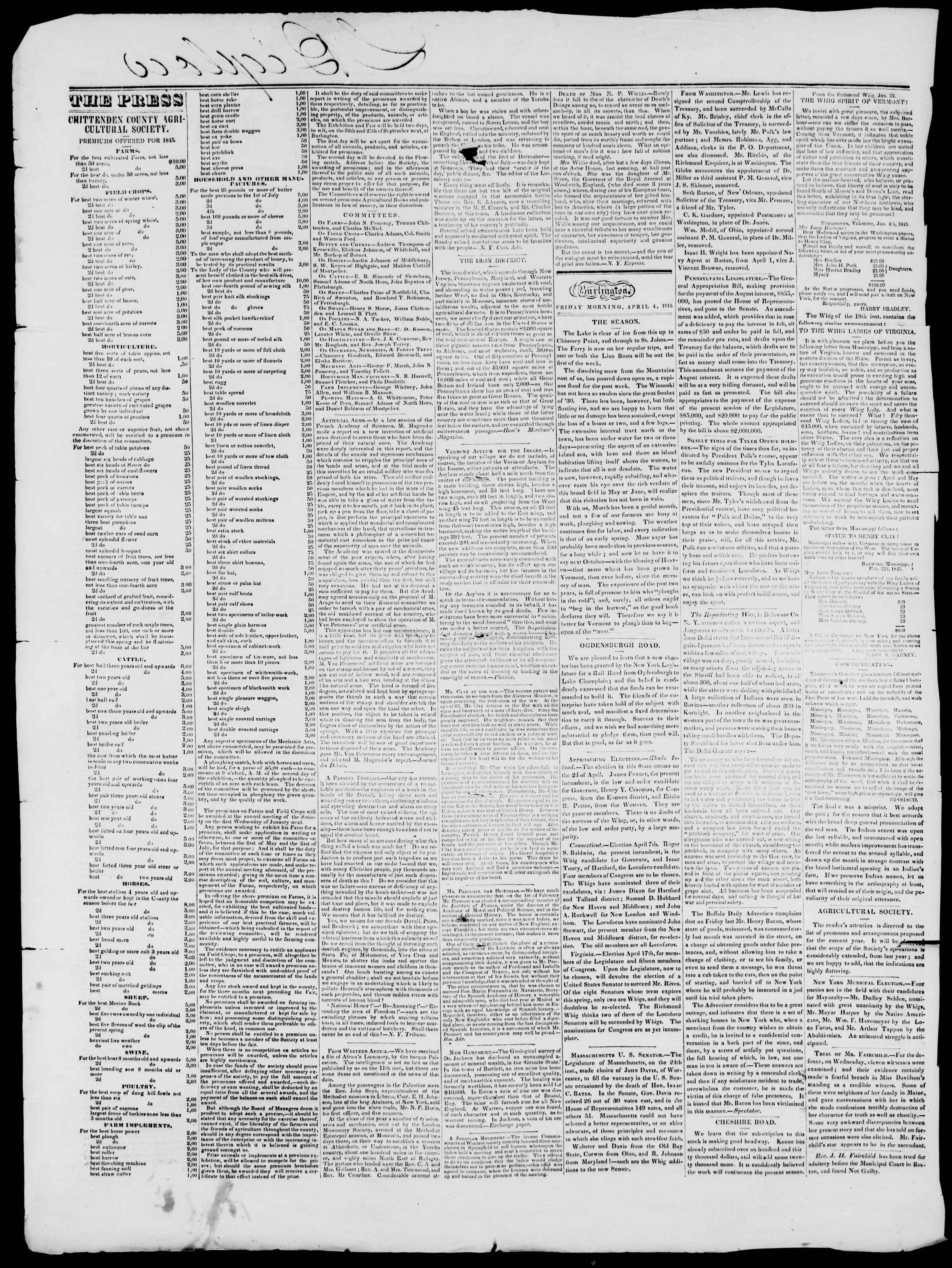 Newspaper of Burlington Free Press dated 4 Nisan 1845 Page 2