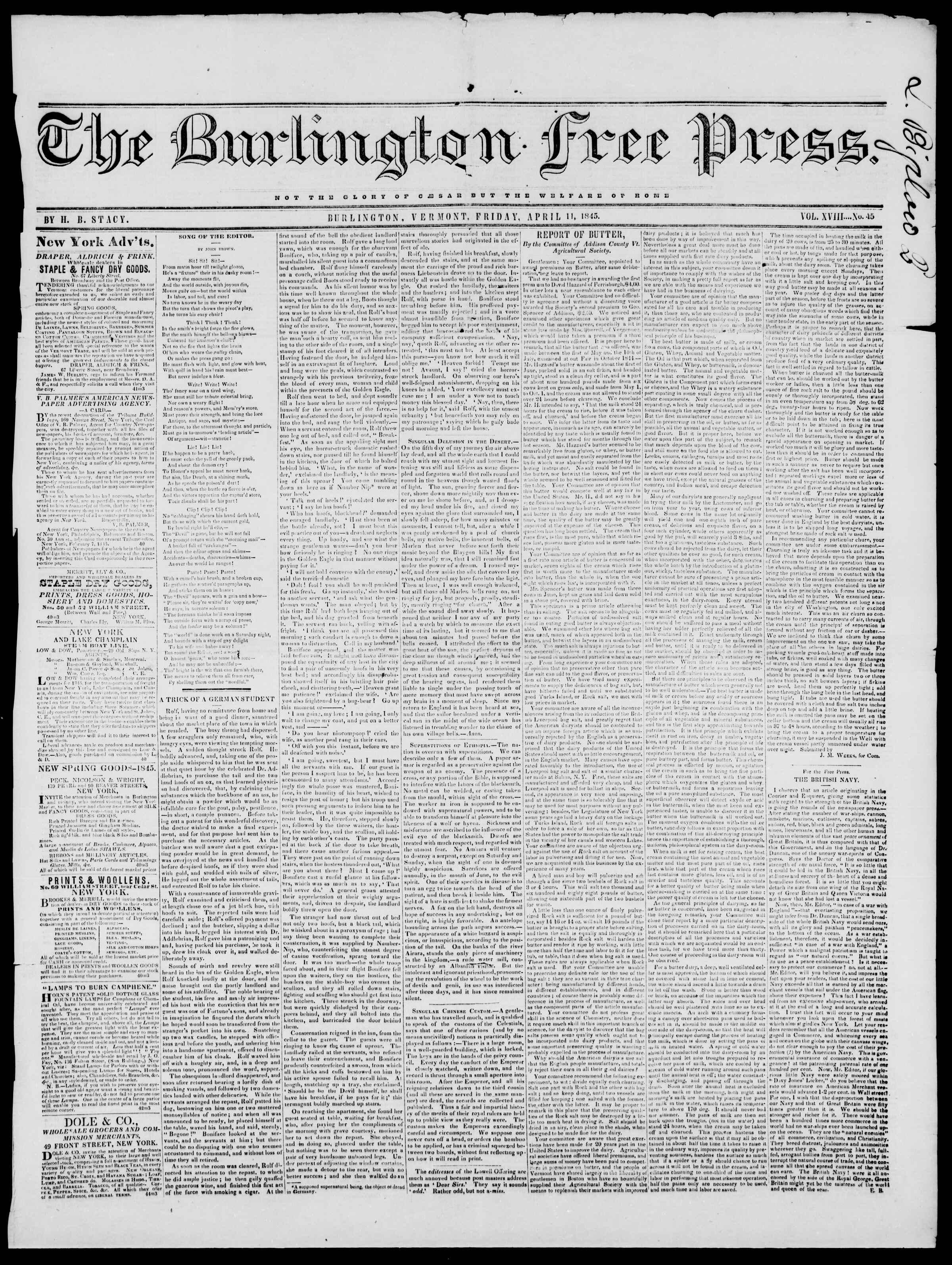 11 Nisan 1845 tarihli Burlington Free Press Gazetesi Sayfa 1