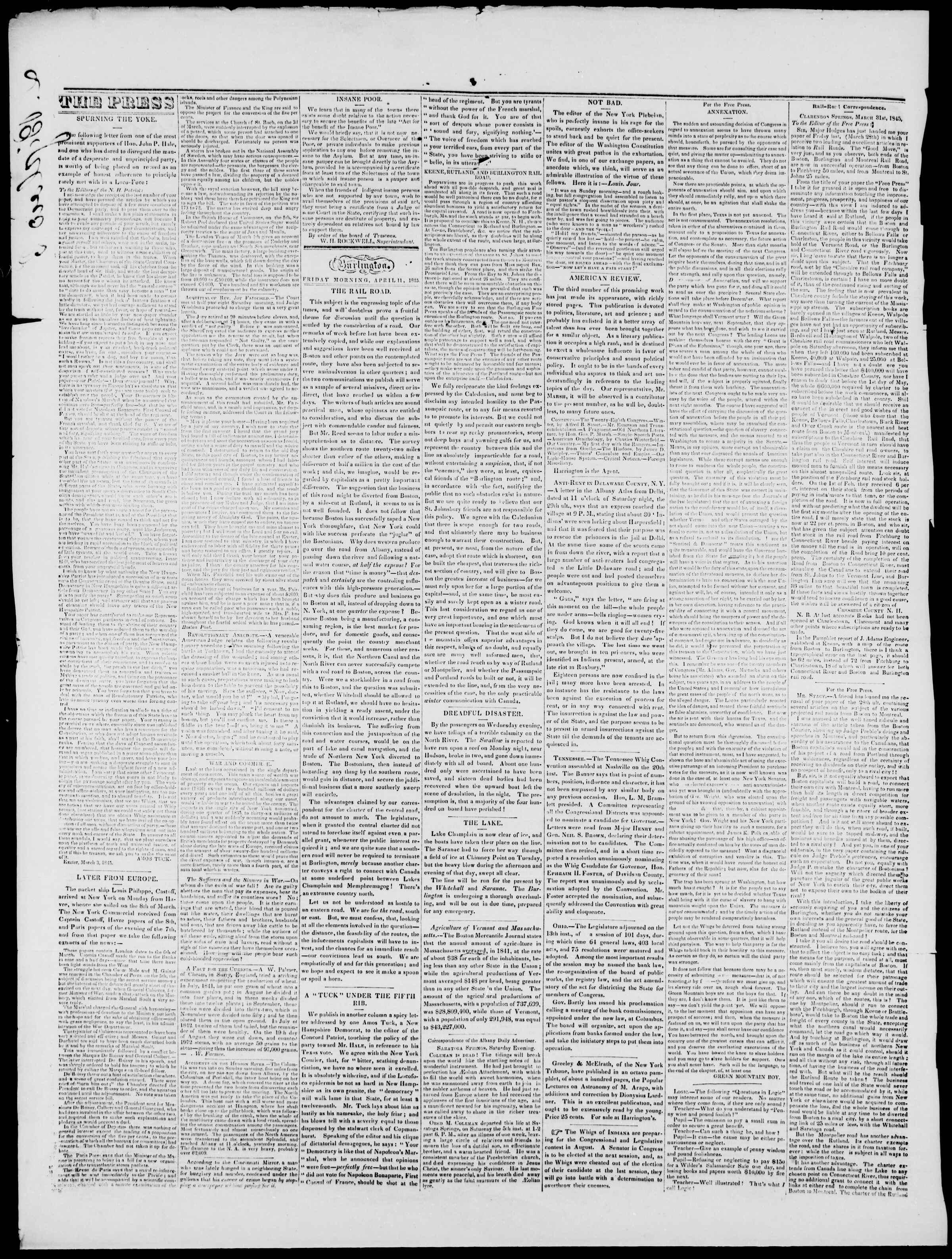Newspaper of Burlington Free Press dated April 11, 1845 Page 2