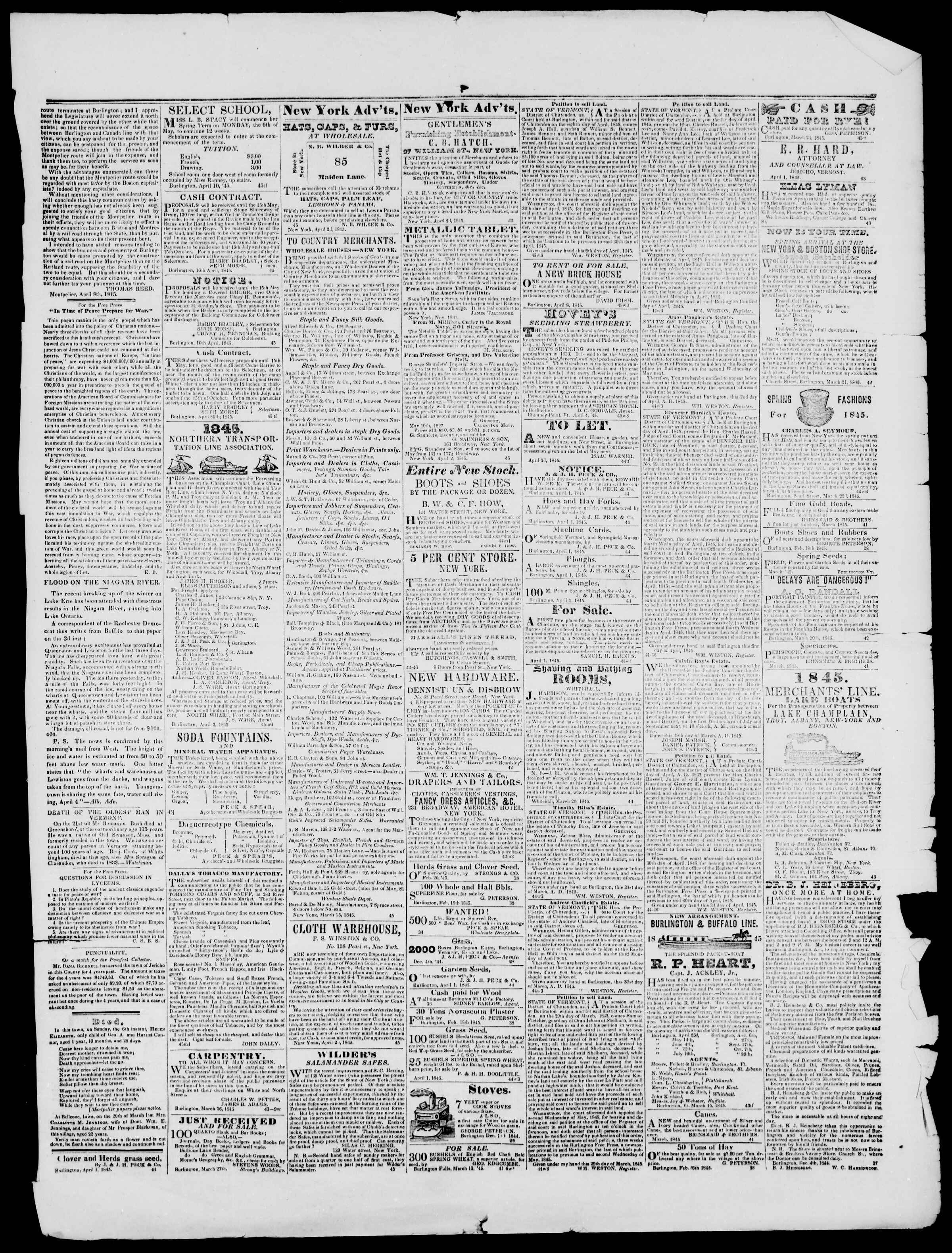 Newspaper of Burlington Free Press dated April 11, 1845 Page 3