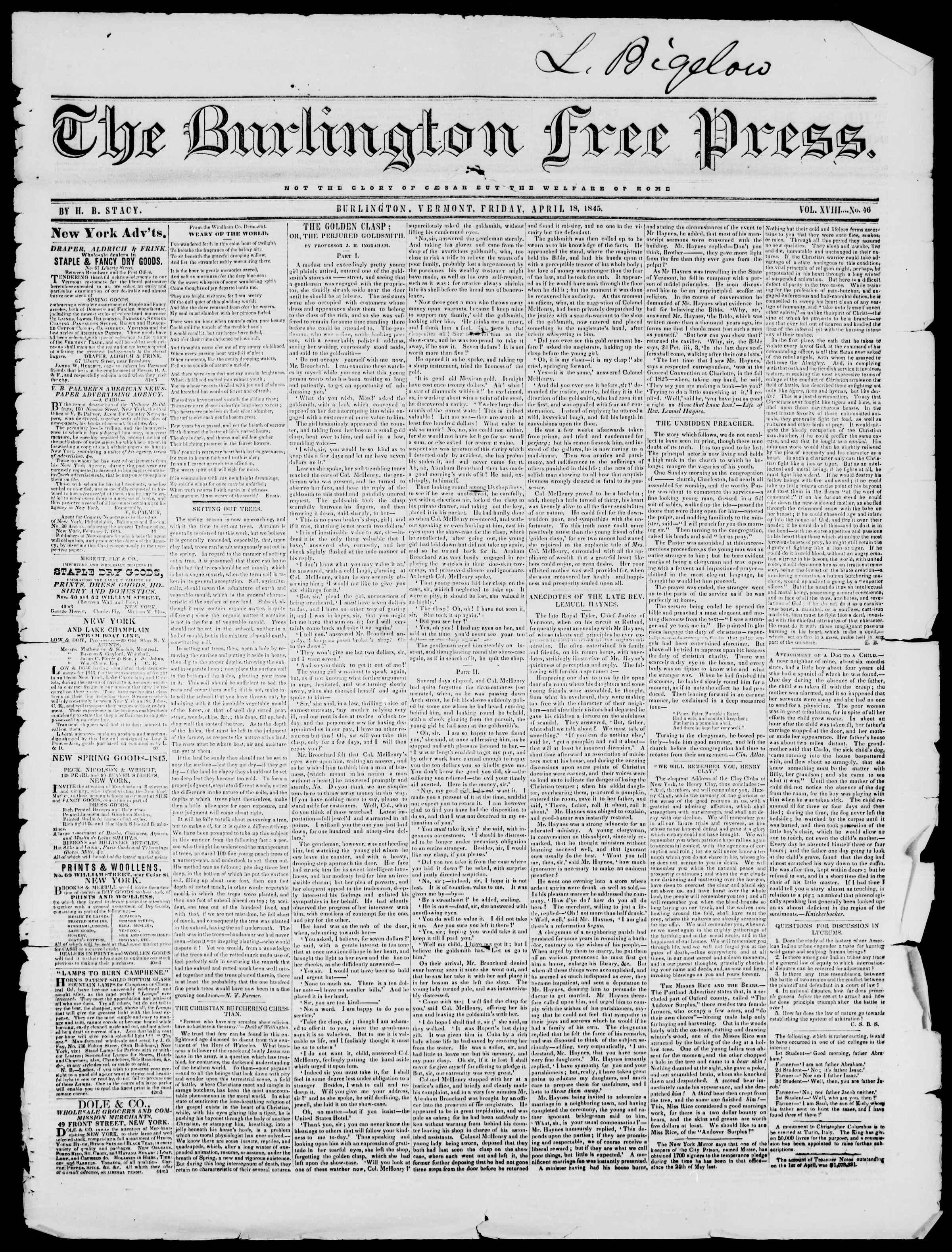Newspaper of Burlington Free Press dated April 18, 1845 Page 1