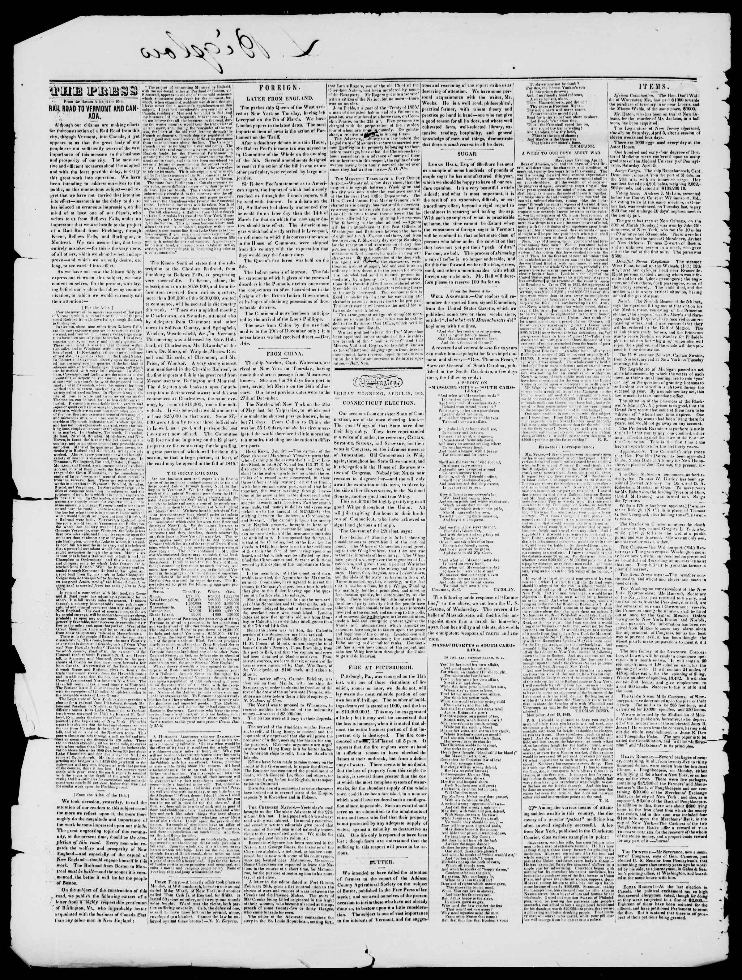 Newspaper of Burlington Free Press dated April 18, 1845 Page 2