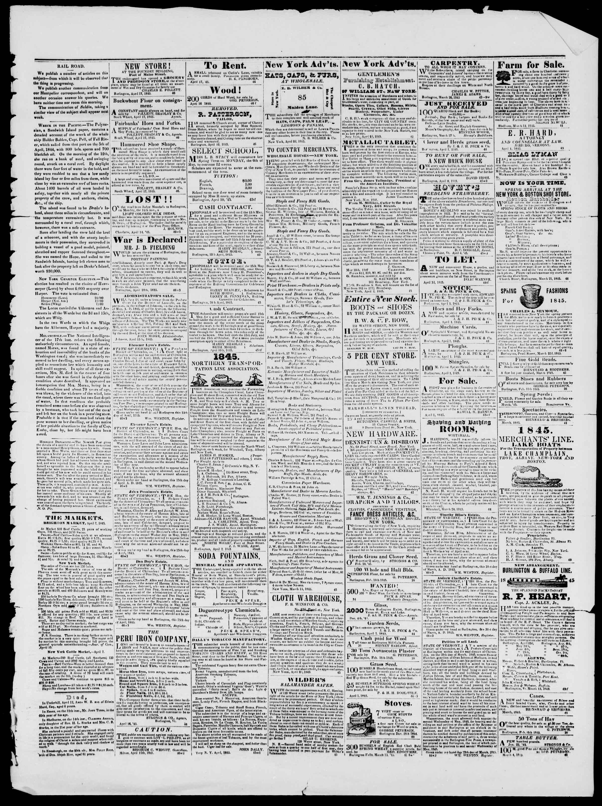 Newspaper of Burlington Free Press dated April 18, 1845 Page 3