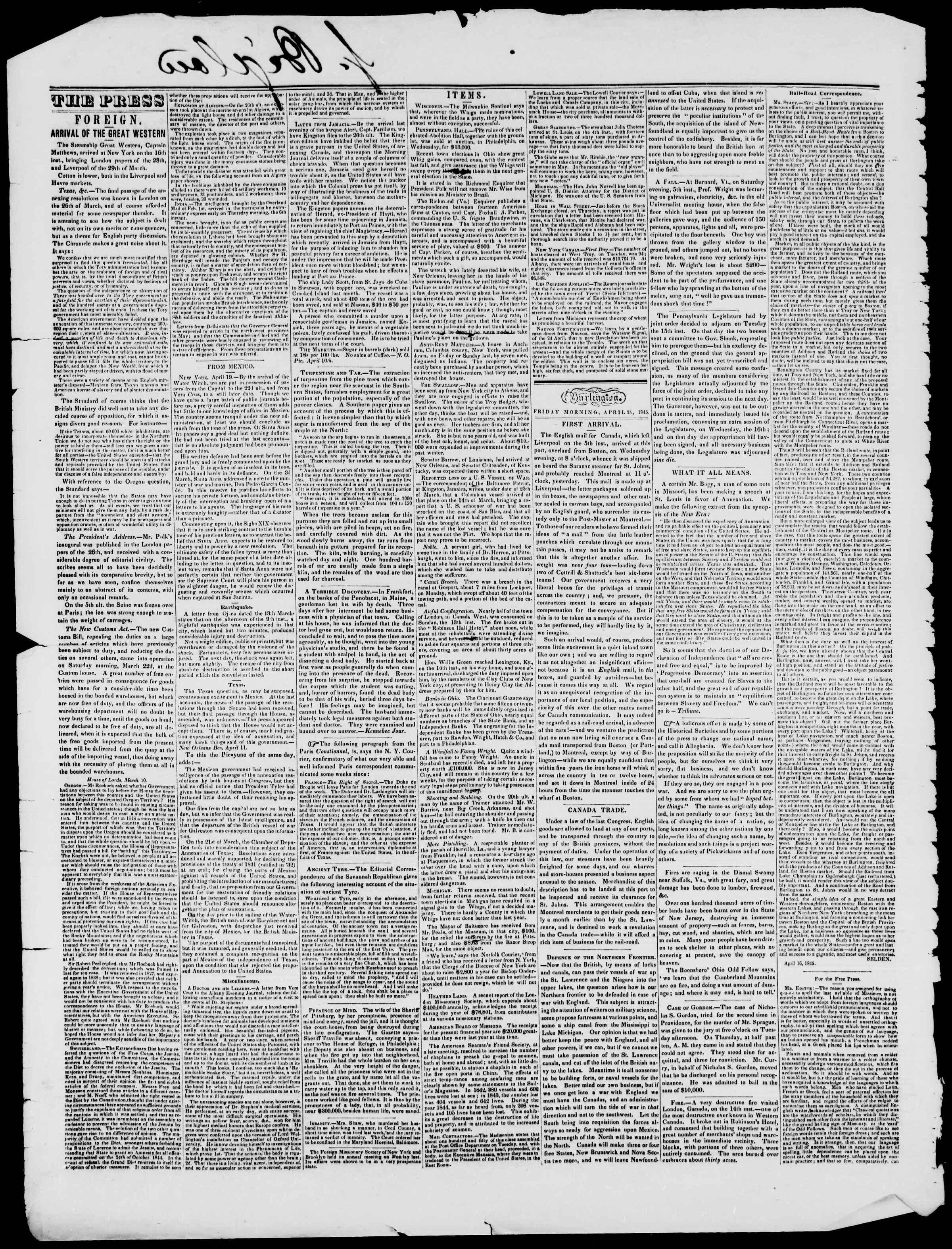 Newspaper of Burlington Free Press dated April 25, 1845 Page 2