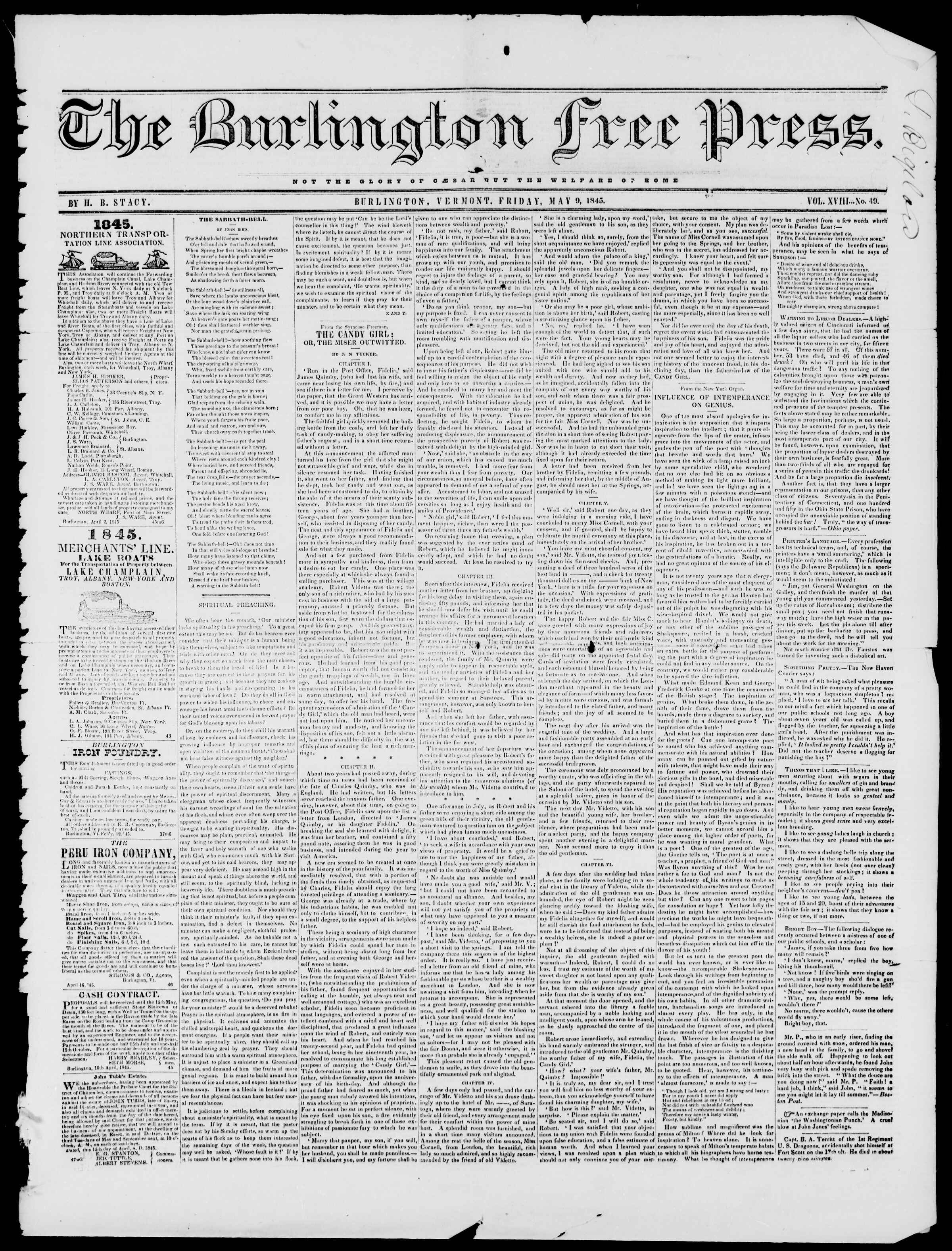 Newspaper of Burlington Free Press dated May 9, 1845 Page 1