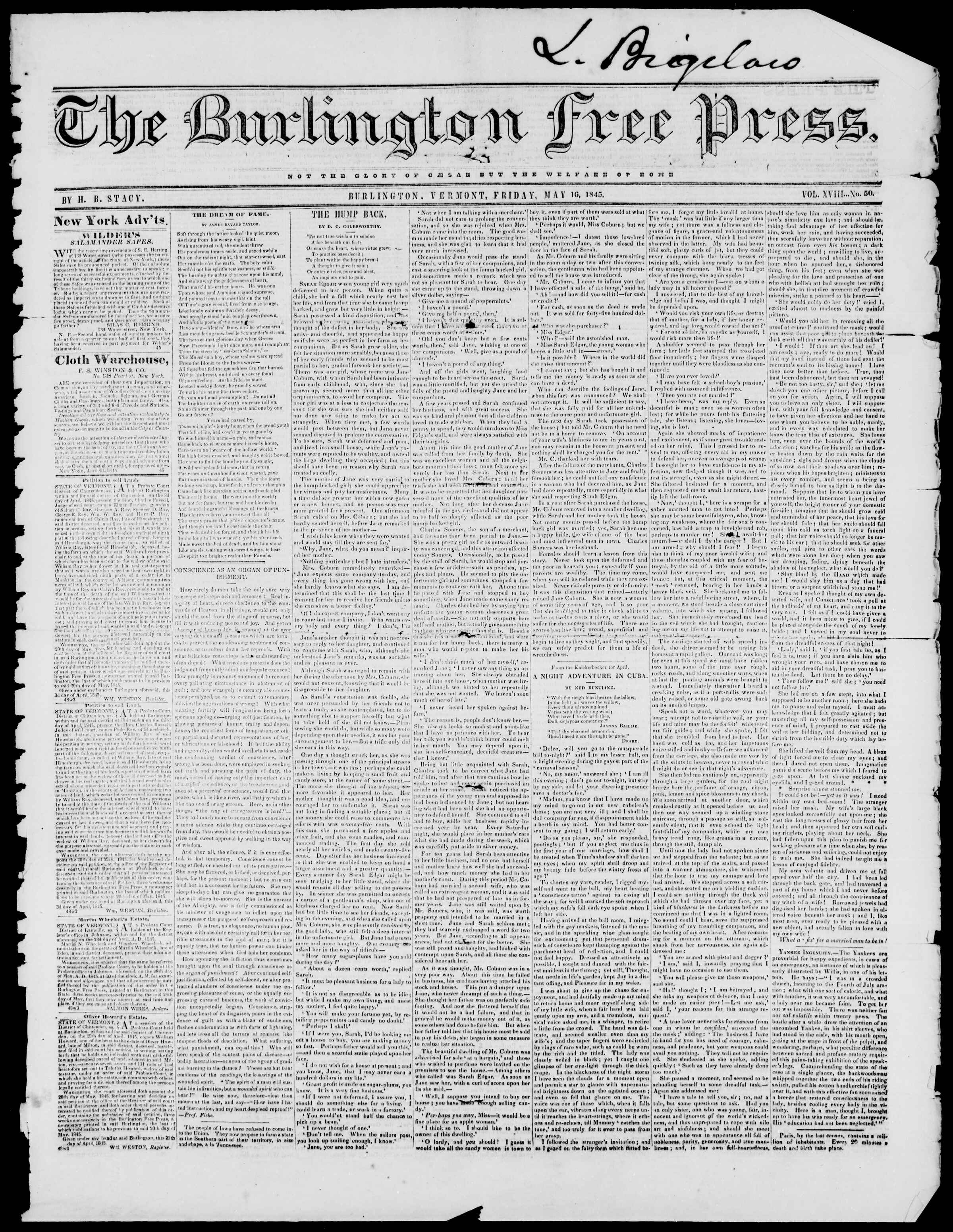 Newspaper of Burlington Free Press dated May 16, 1845 Page 1