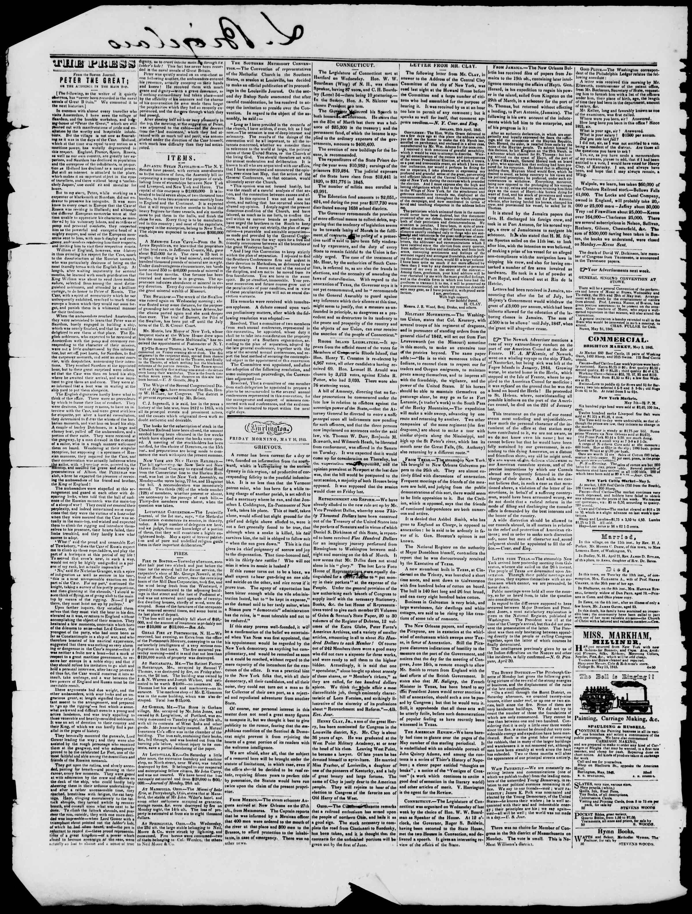 Newspaper of Burlington Free Press dated May 16, 1845 Page 2